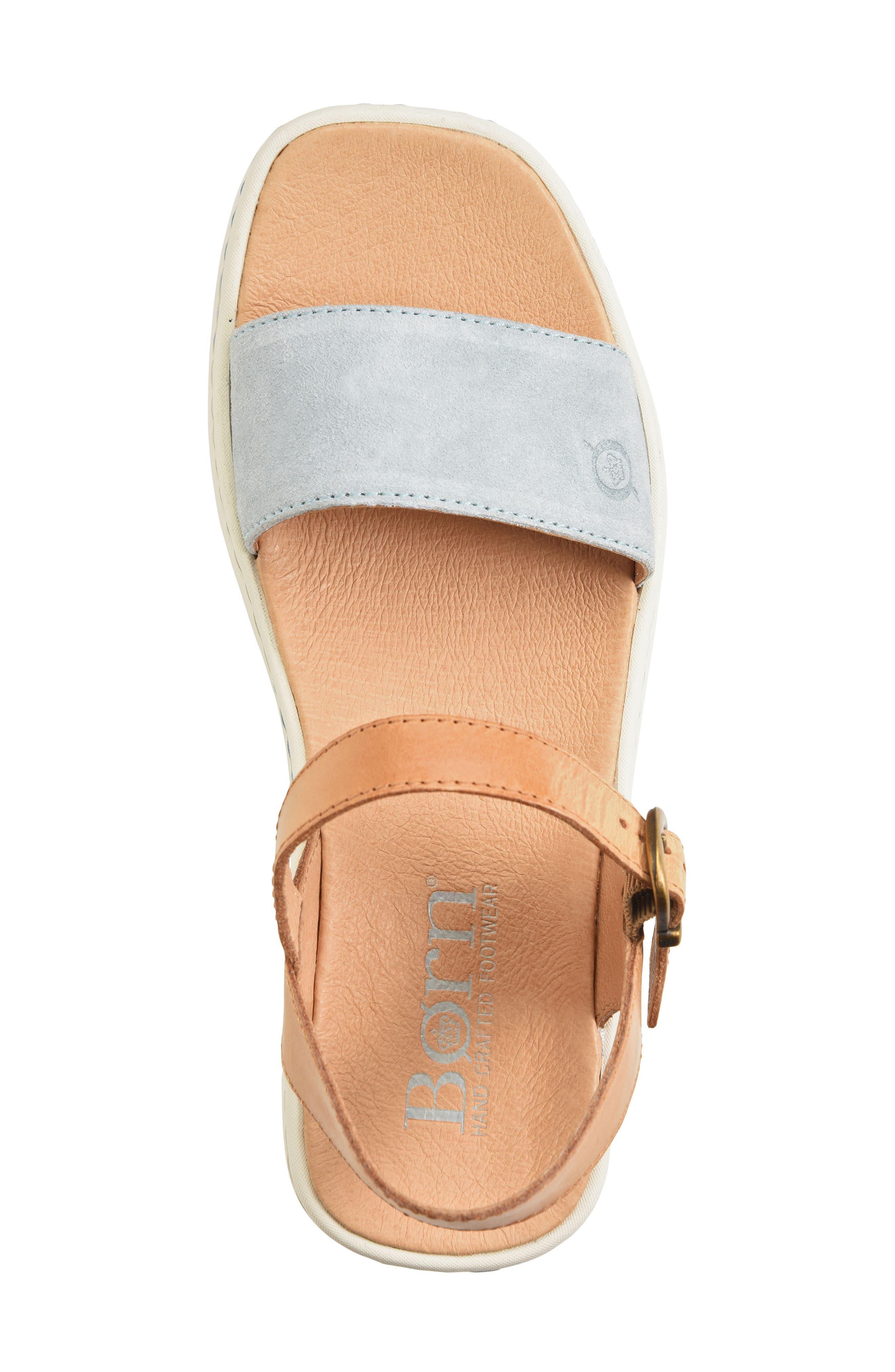 Breaker Platform Sandal,                             Alternate thumbnail 5, color,                             Light Blue/ Tan Leather