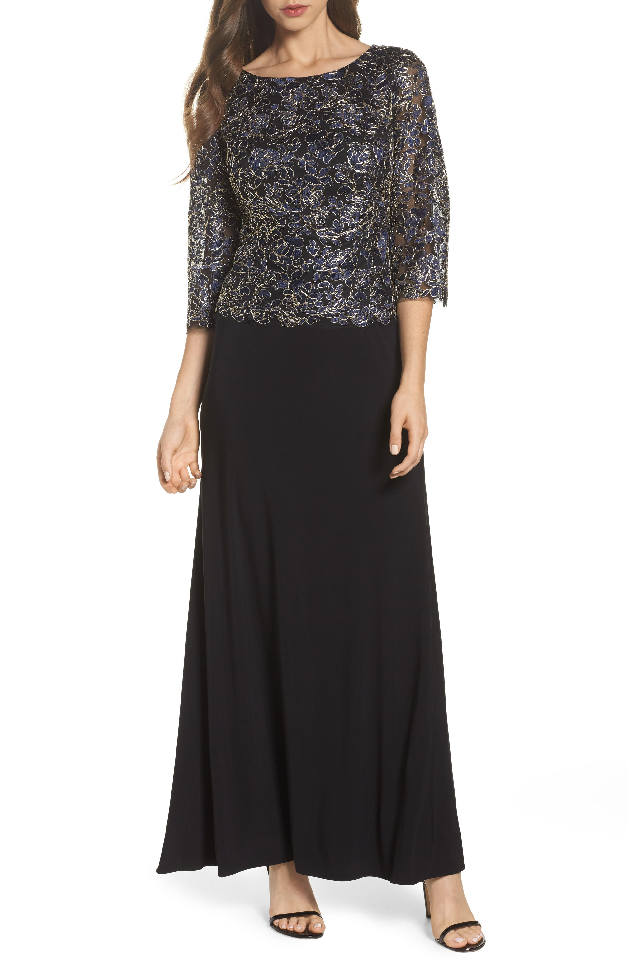 Embroidered Lace Mock Two-Piece Dress,                         Main,                         color, Navy/ Gold