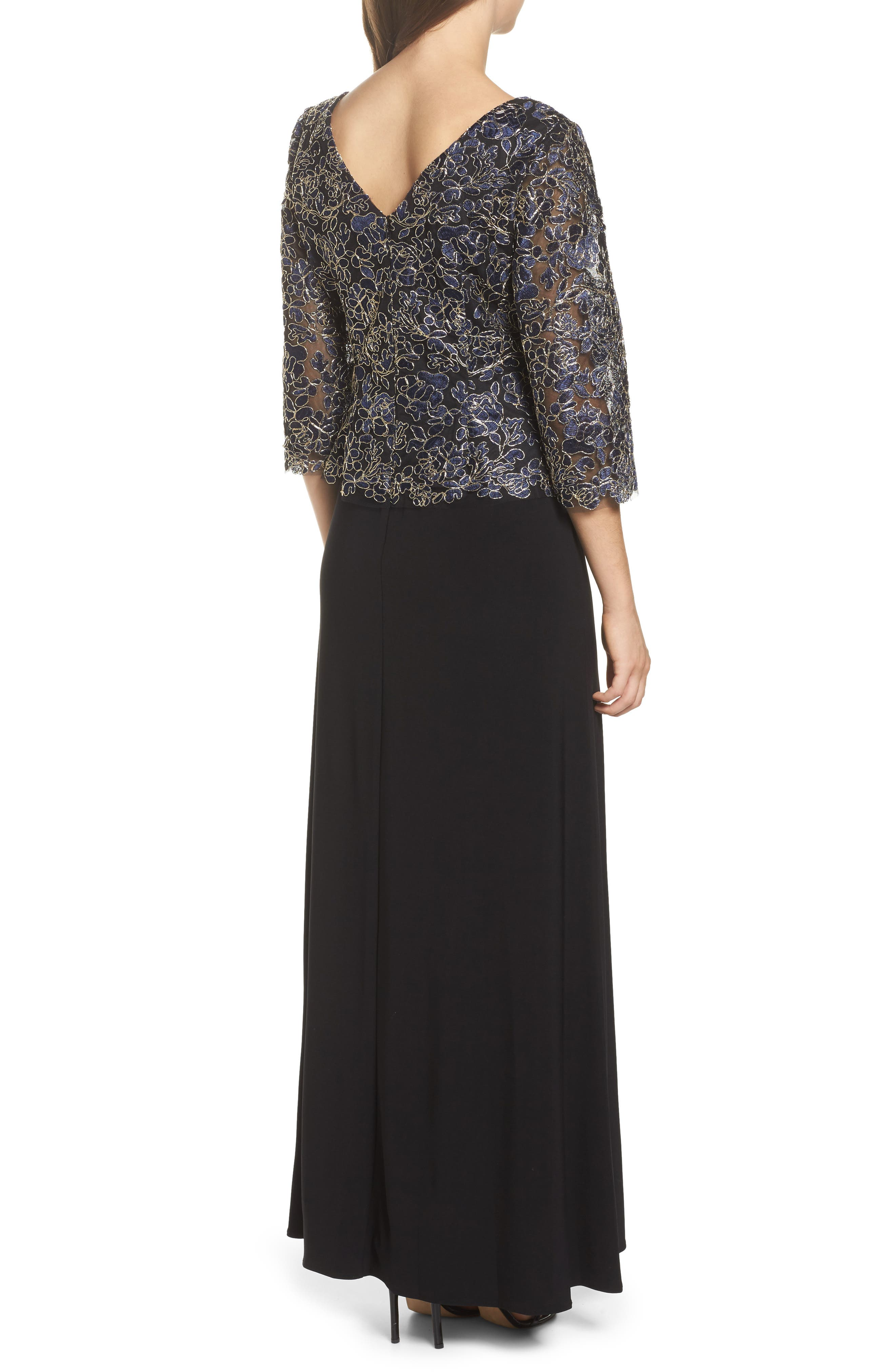 Embroidered Lace Mock Two-Piece Dress,                             Alternate thumbnail 2, color,                             Navy/ Gold