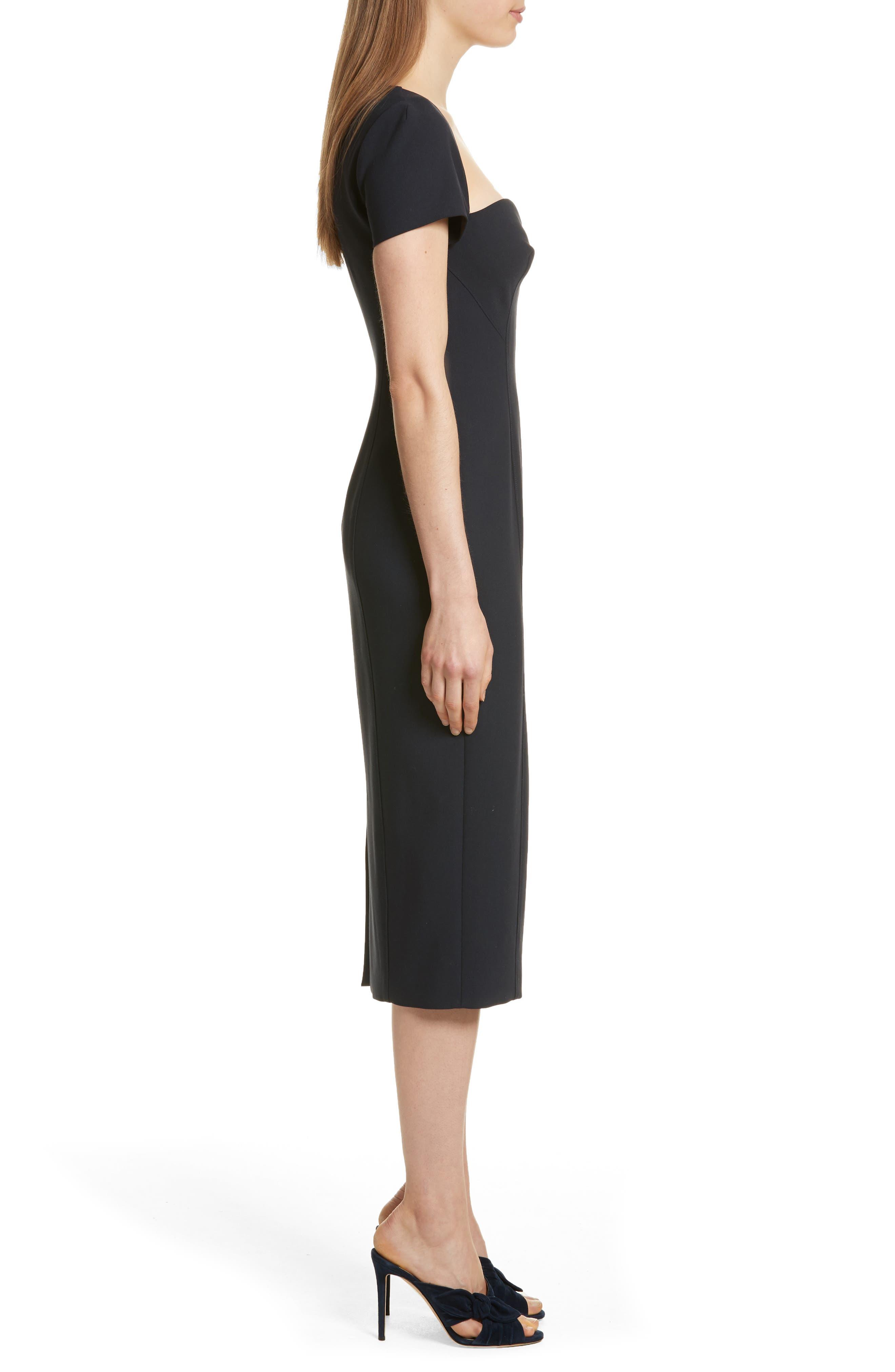 Gianna Sweetheart Neck Sheath Dress,                             Alternate thumbnail 3, color,                             Navy