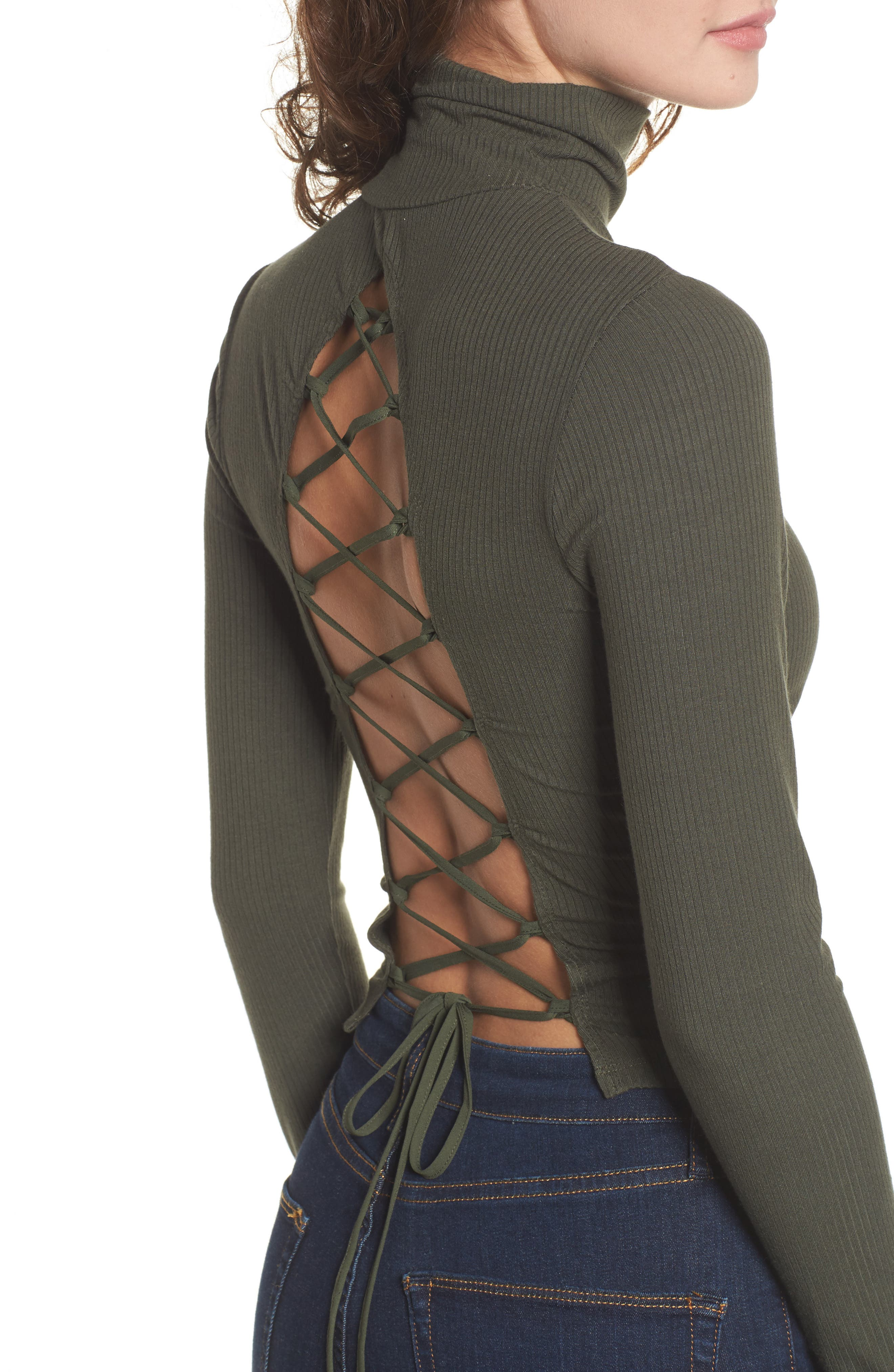 Mira Lace Up Turtleneck,                             Alternate thumbnail 3, color,                             Olive