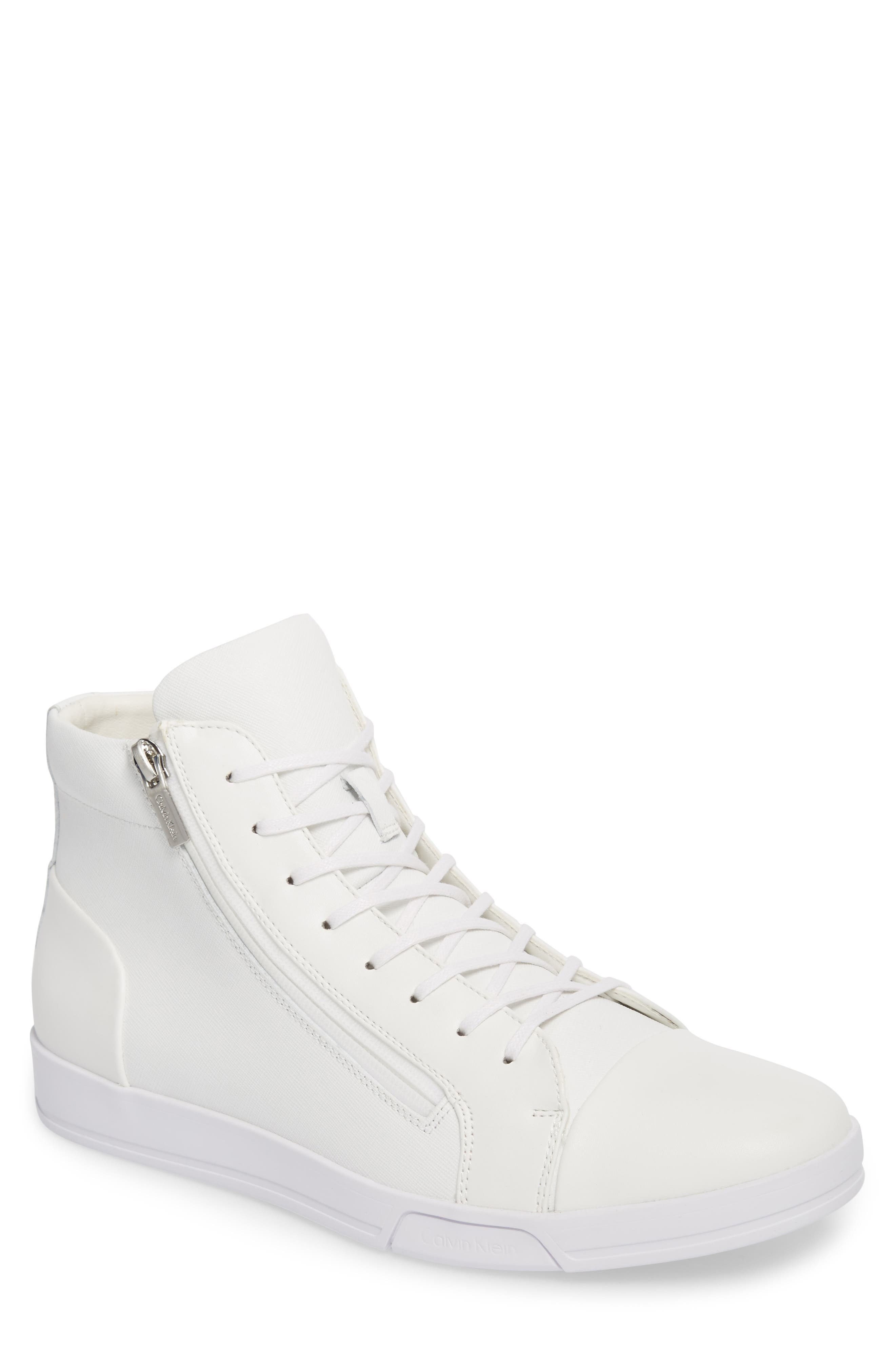 Berke High Top Sneaker,                             Main thumbnail 1, color,                             White Leather