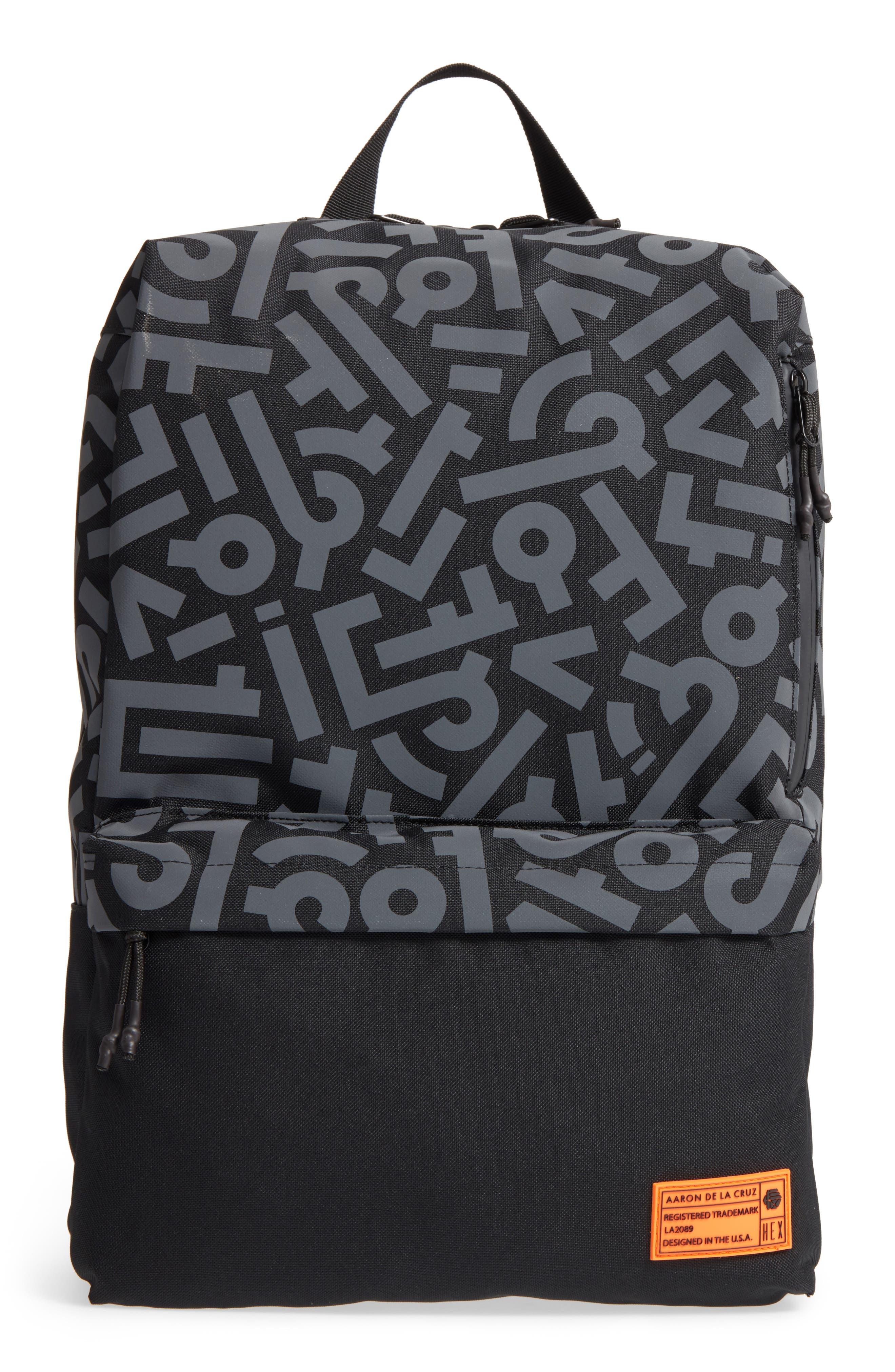 x Aaron De La Cruz Exile Backpack,                         Main,                         color, Black Reflective