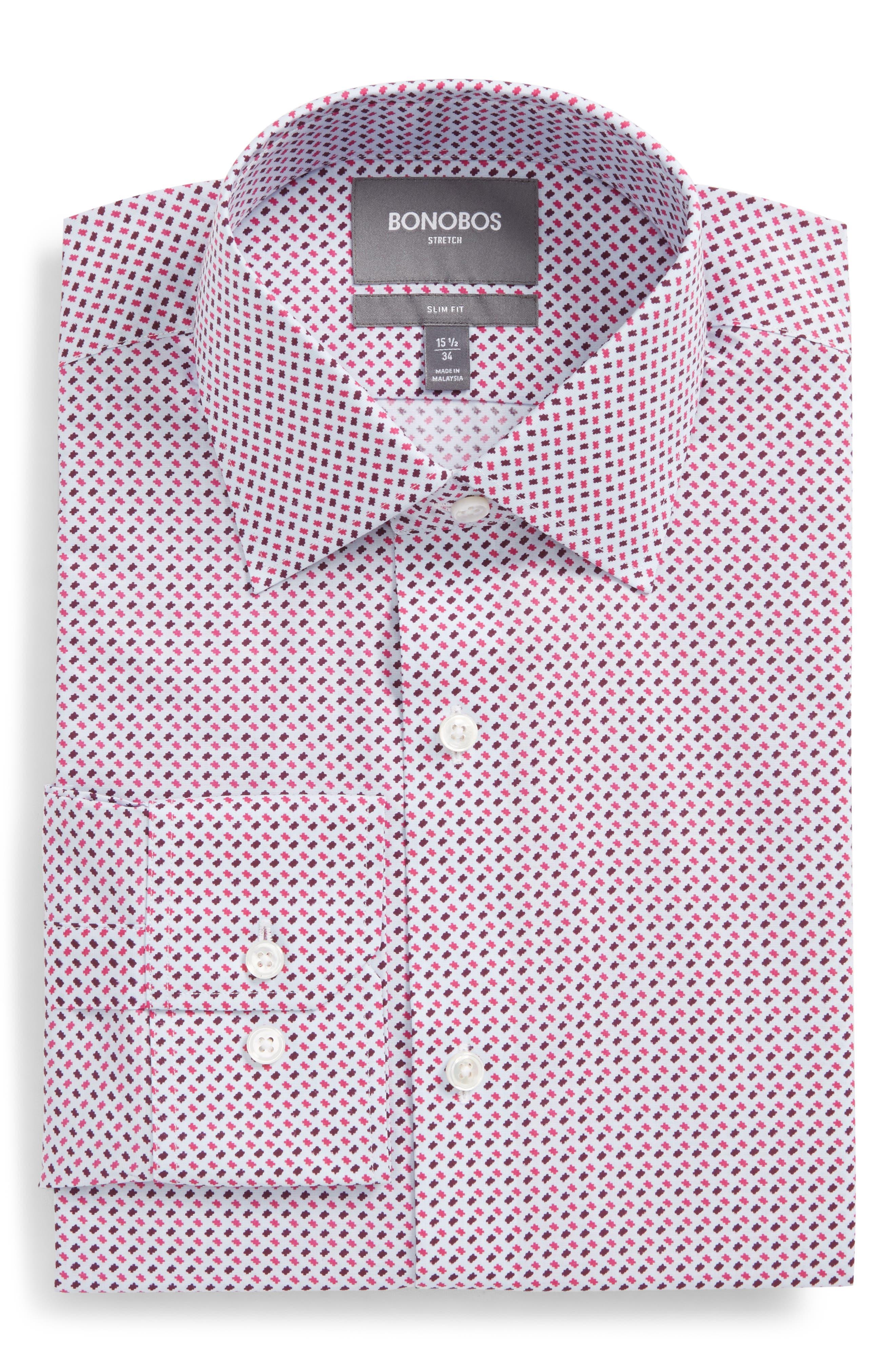 Easton Slim Fit Geometric Print Dress Shirt,                             Main thumbnail 1, color,                             French Rose