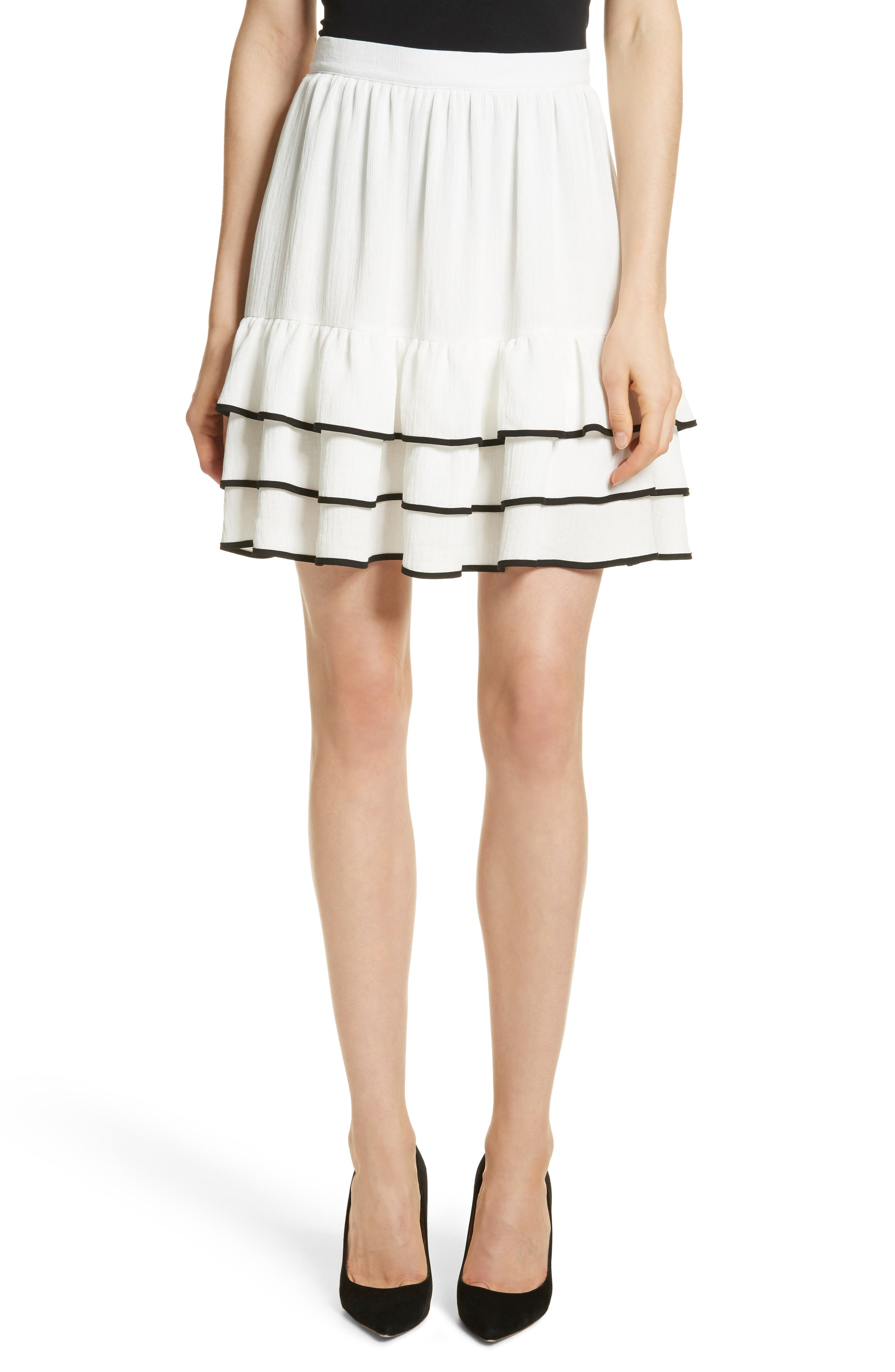 Prose & Poetry Carice Ruffle Miniskirt,                             Main thumbnail 1, color,                             Alabaster