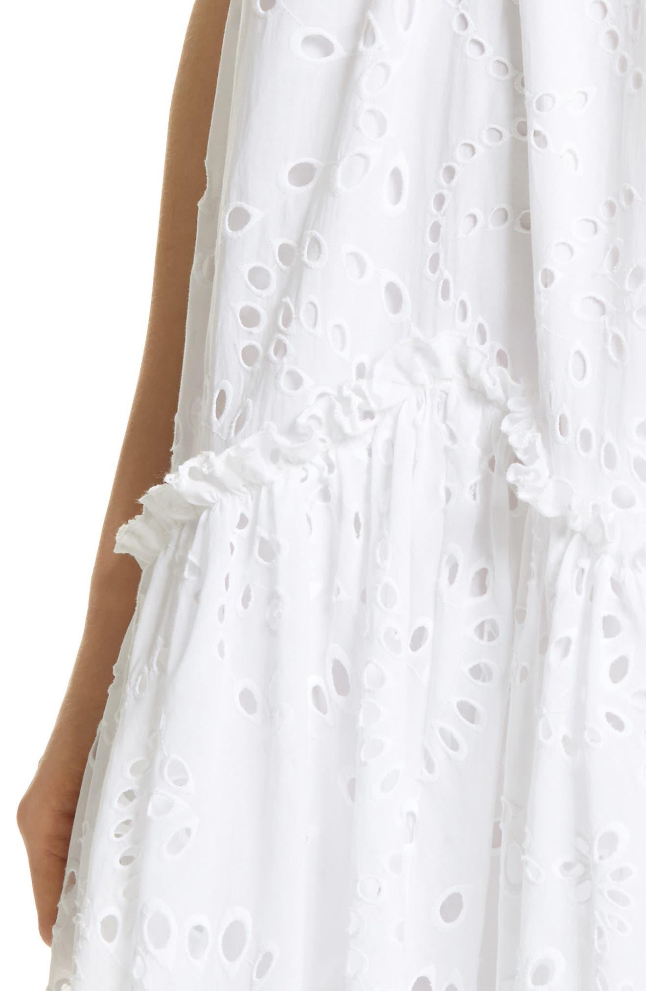 Prose & Poetry Kerr Eyelet Peasant Midi Dress,                             Alternate thumbnail 4, color,                             Cloud White