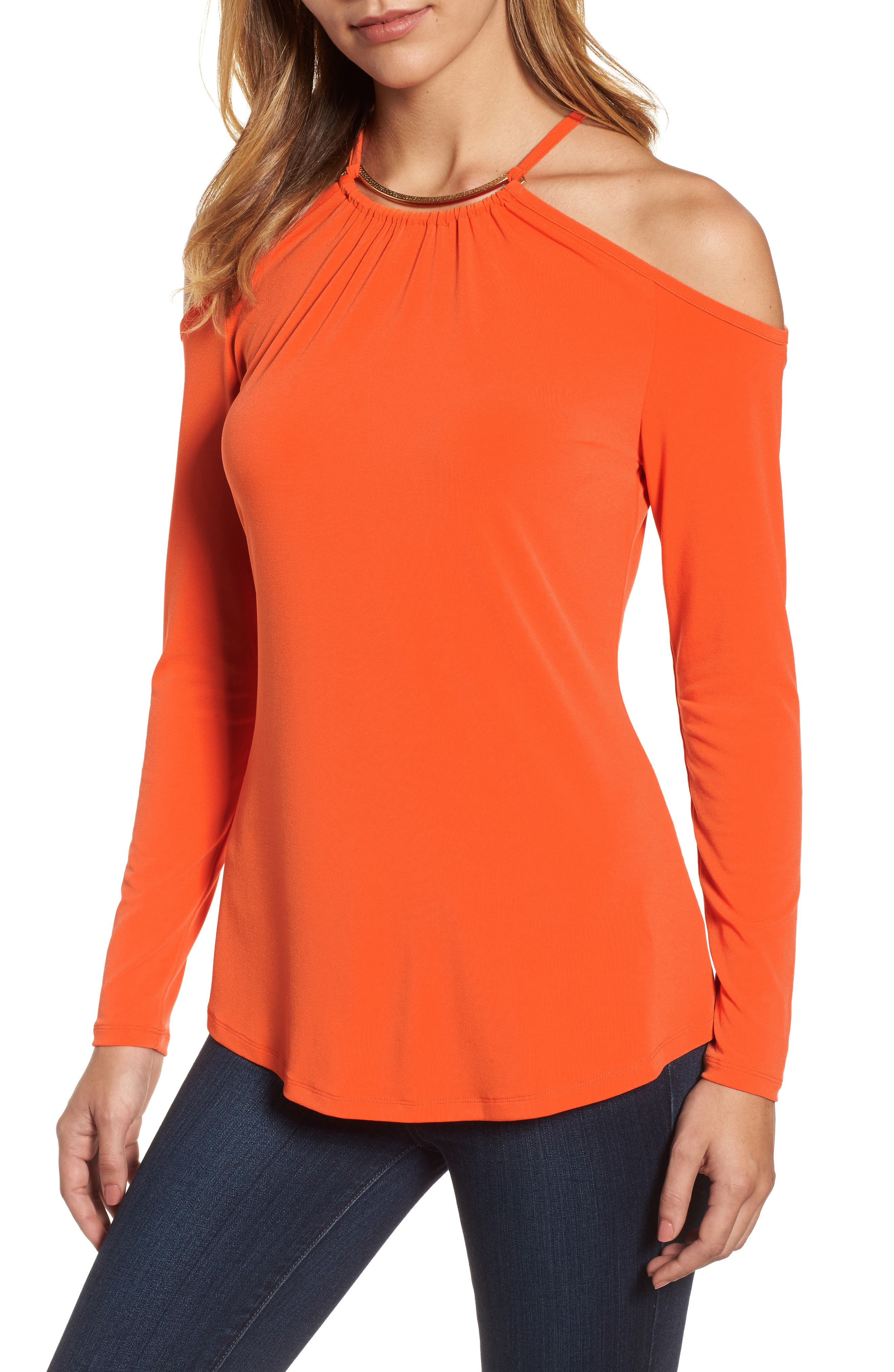 MICHAEL Michael Kors Neck Plate Cold Shoulder Top