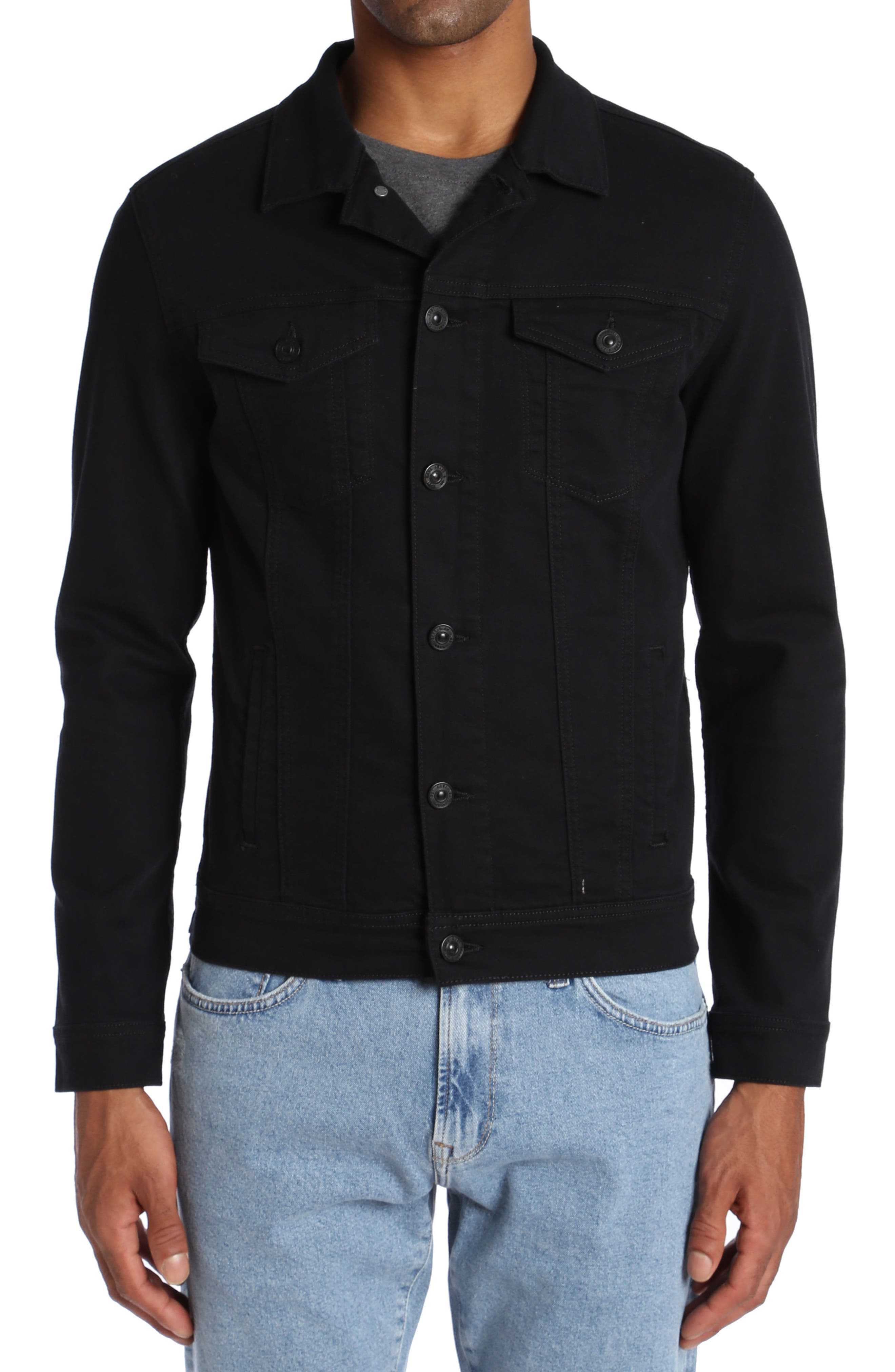 Frank Denim Jacket,                             Main thumbnail 1, color,                             Black Comfort