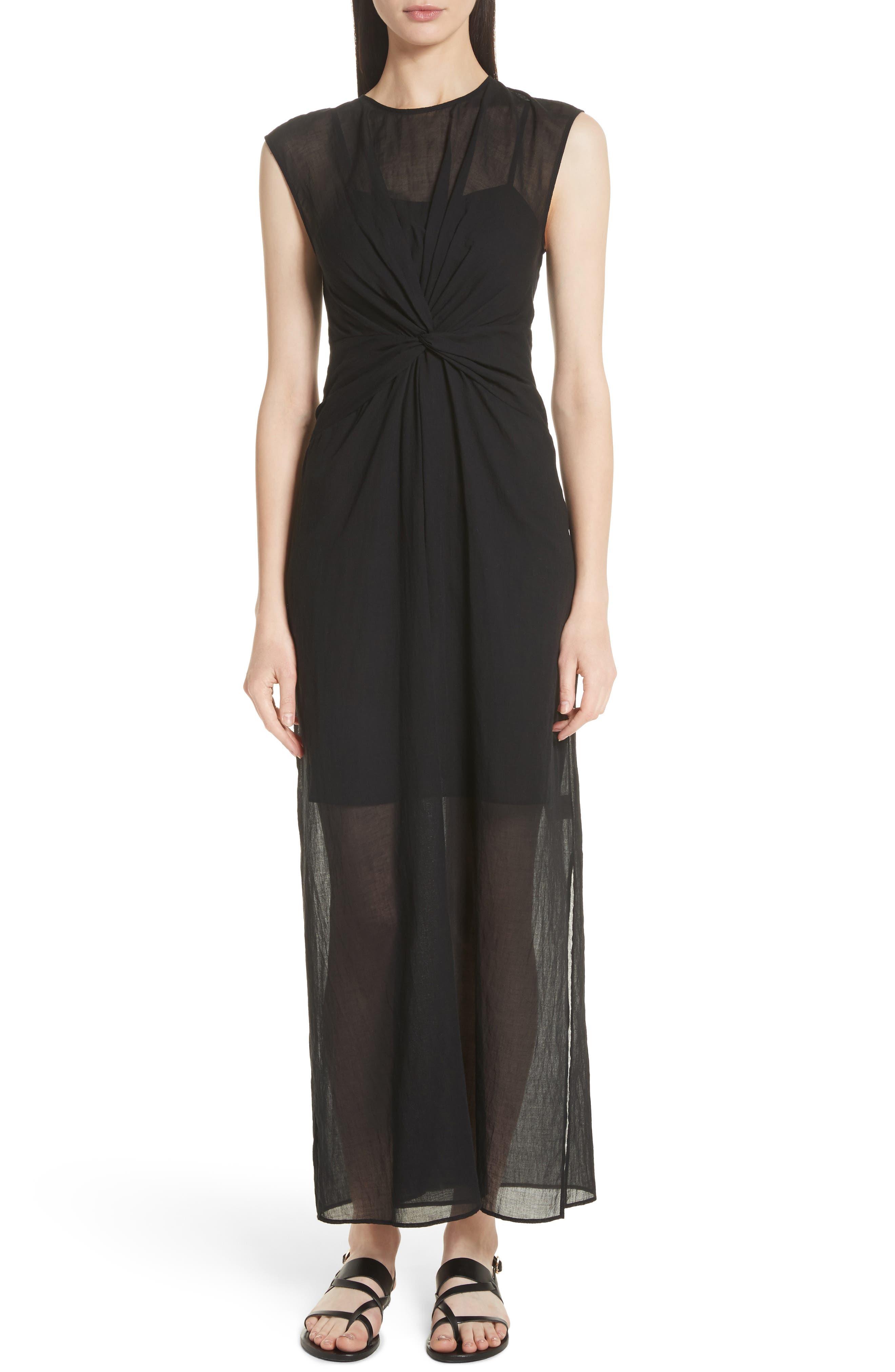 Knot Front Maxi Dress,                         Main,                         color, Black Multi