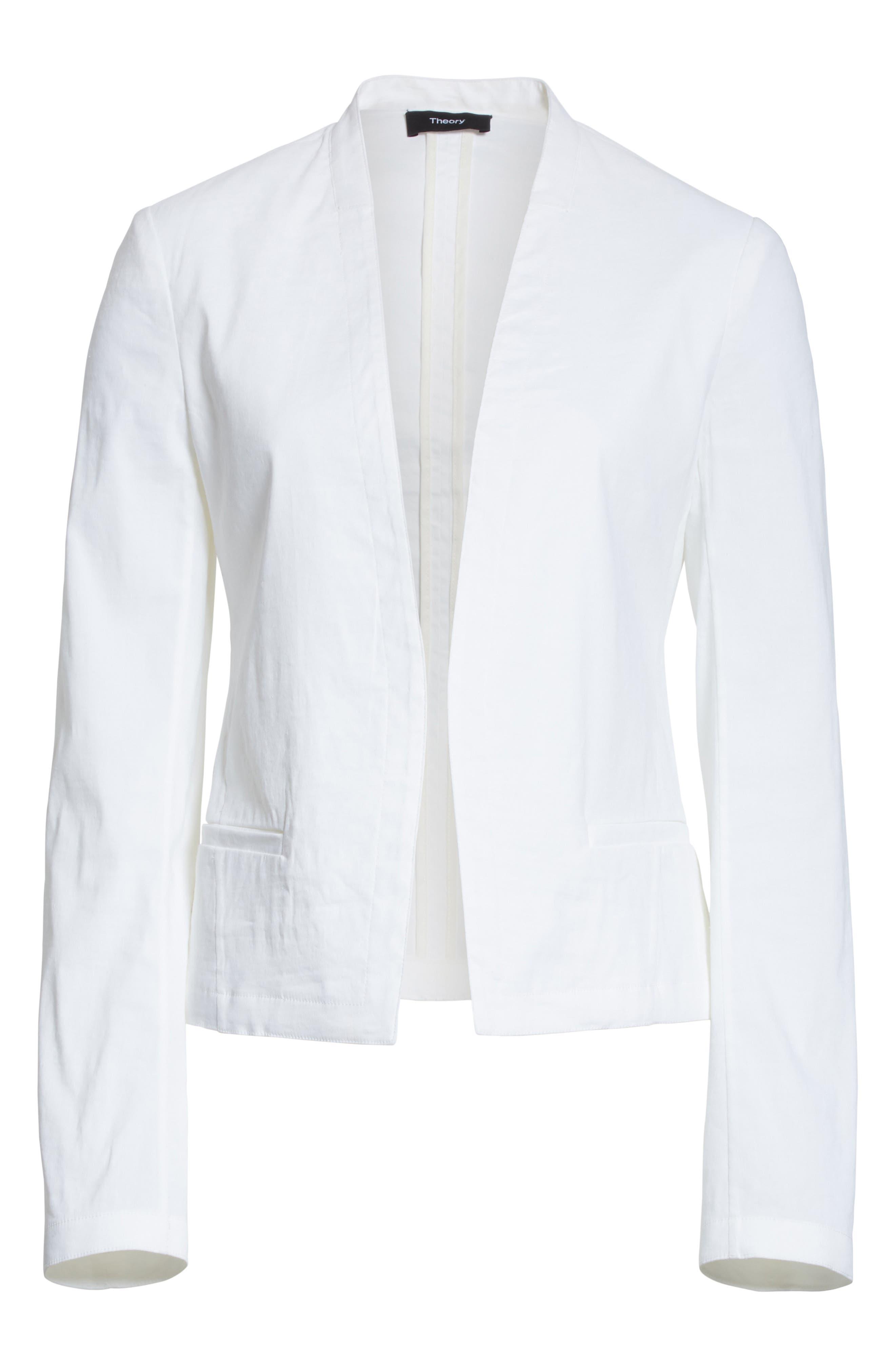 Clean Linen Blend Blazer,                             Alternate thumbnail 6, color,                             White