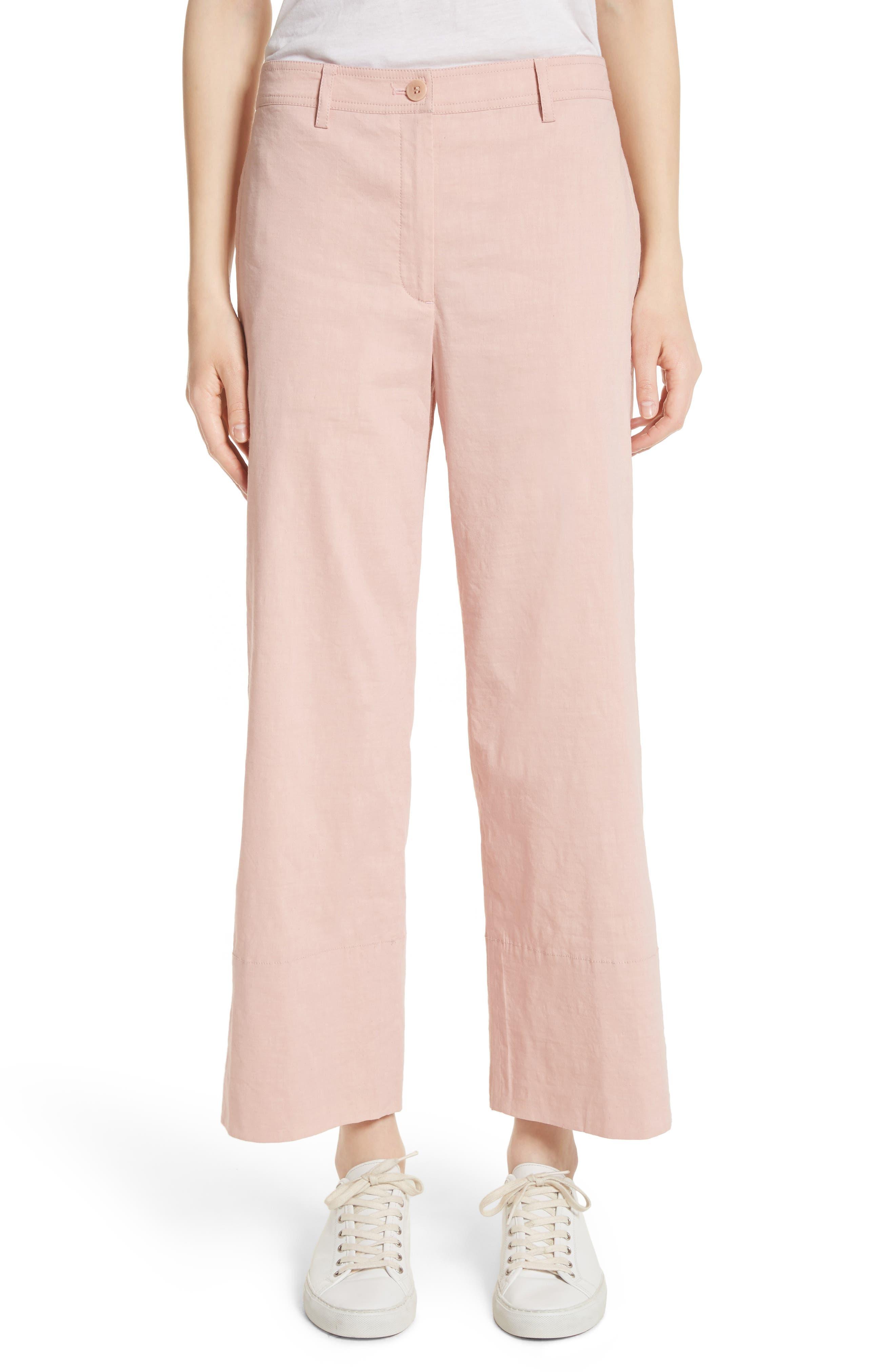 Fluid Wide Leg Crop Pants,                         Main,                         color, Pink Ballet