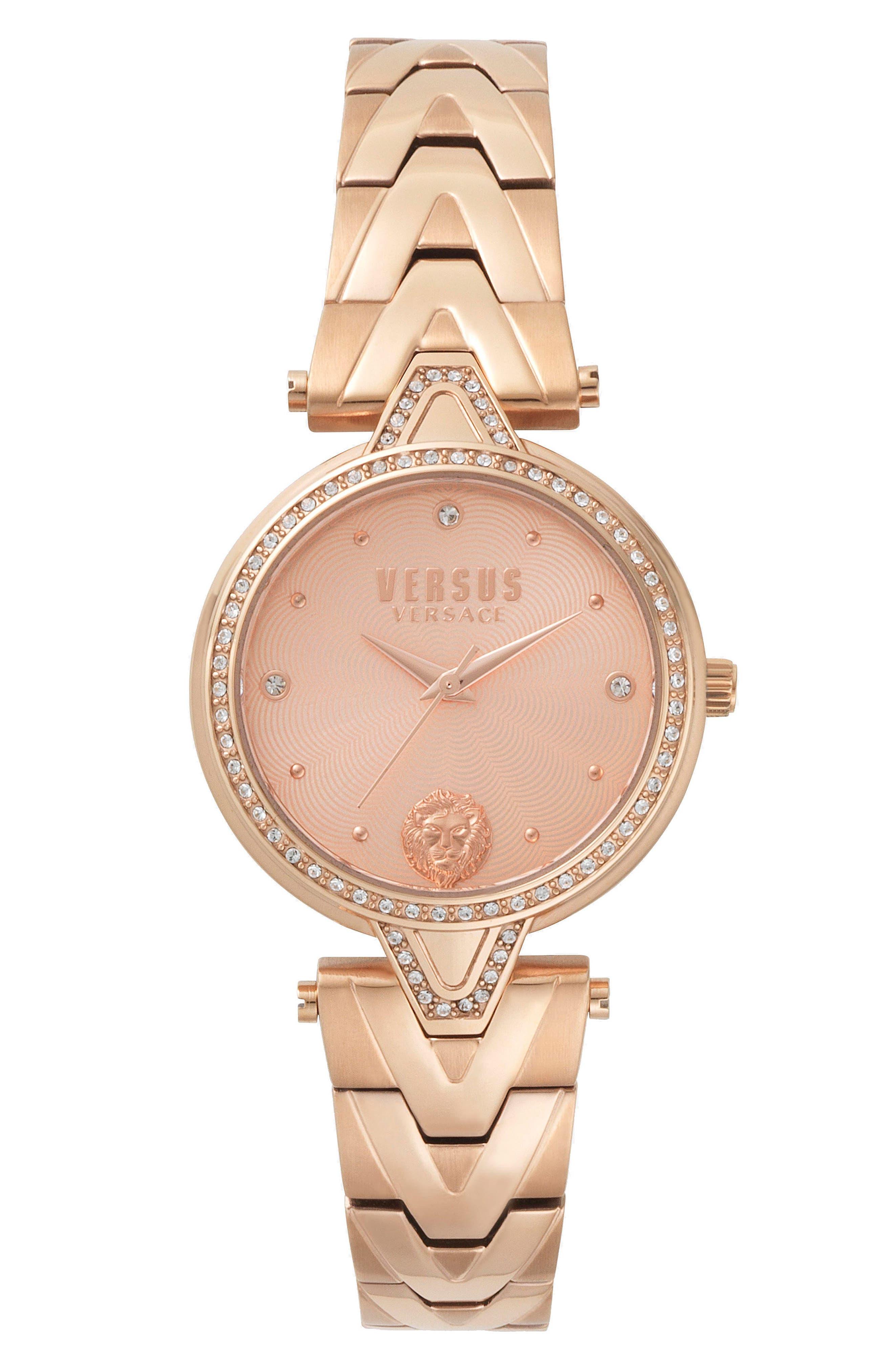 V Versus Bracelet Watch, 34mm,                         Main,                         color, Rose Gold
