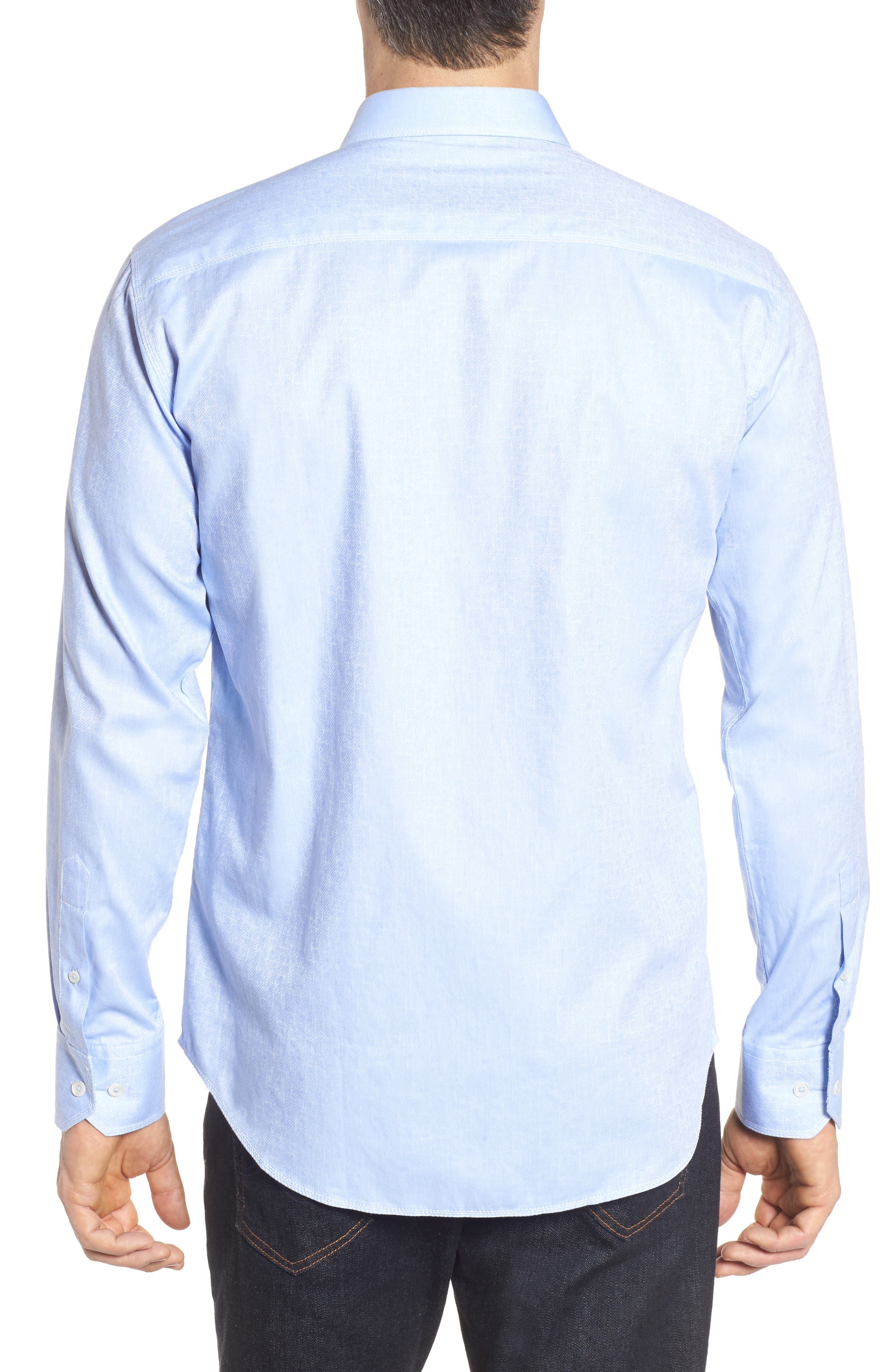 Shaped Fit Sport Shirt,                             Alternate thumbnail 2, color,                             Sky
