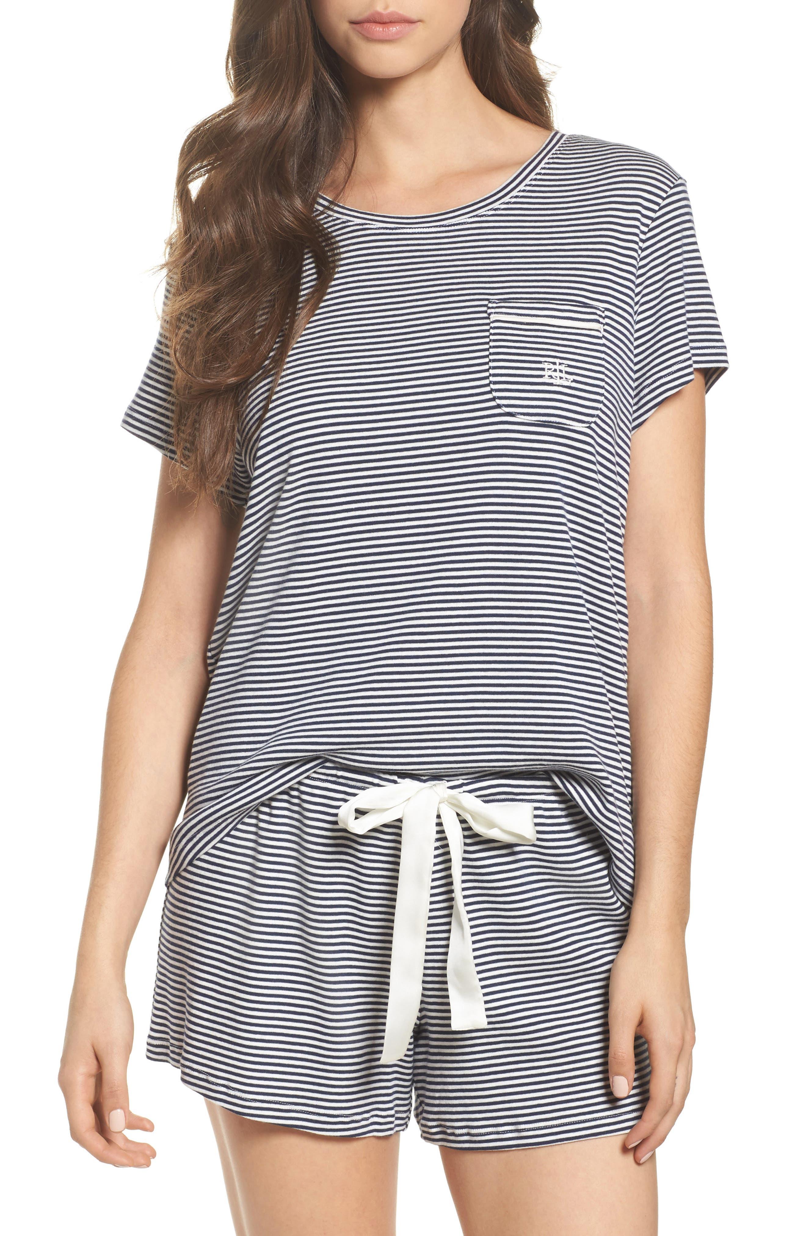 Jersey Short Pajamas,                         Main,                         color, Navy Stripe