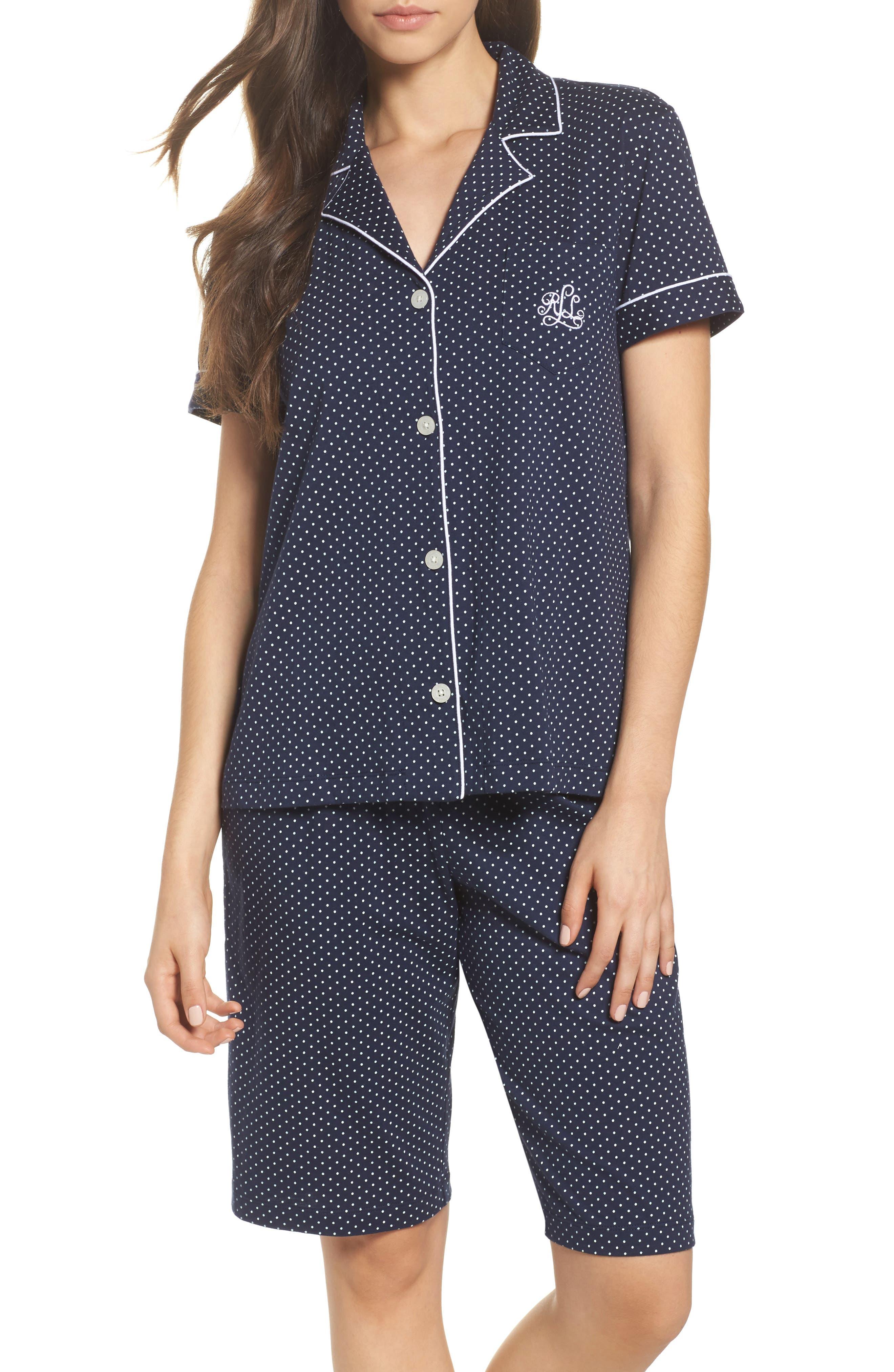 Bermuda Pajamas,                         Main,                         color, Navy Dot