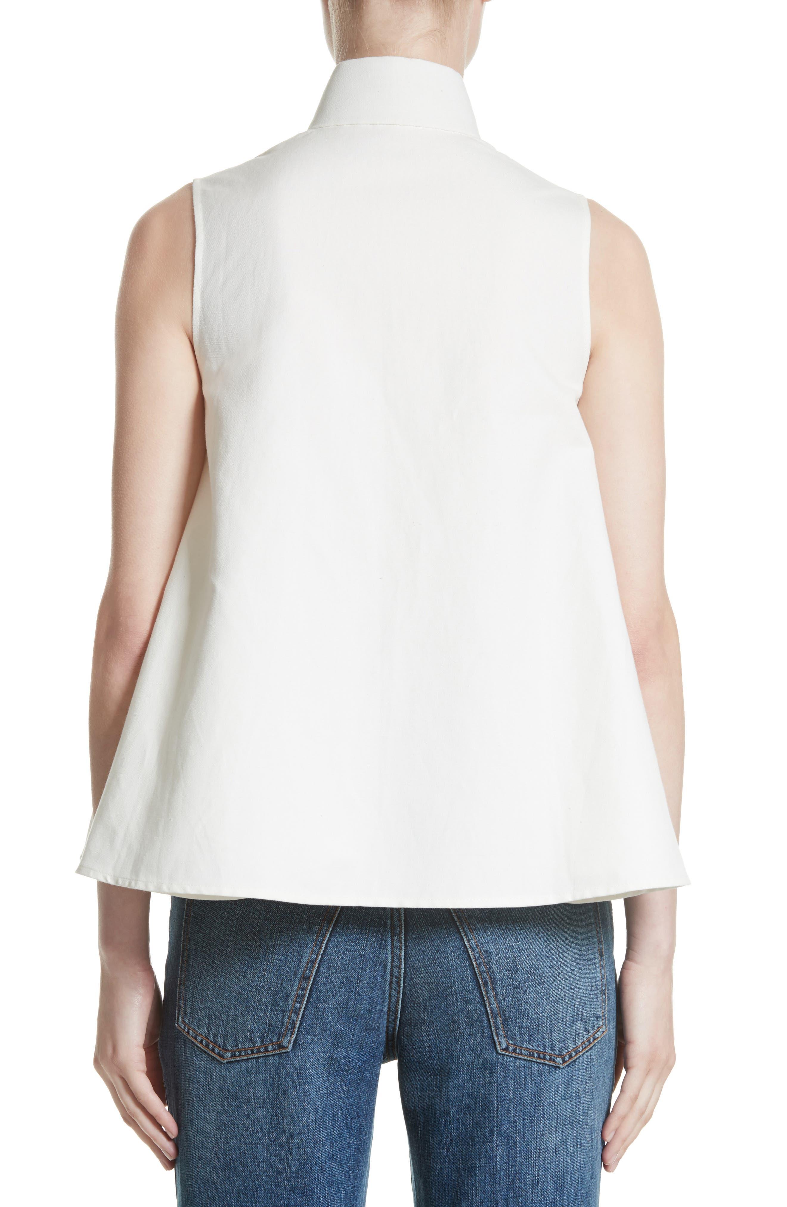 Linen & Cotton Swing Top,                             Alternate thumbnail 2, color,                             Ivory