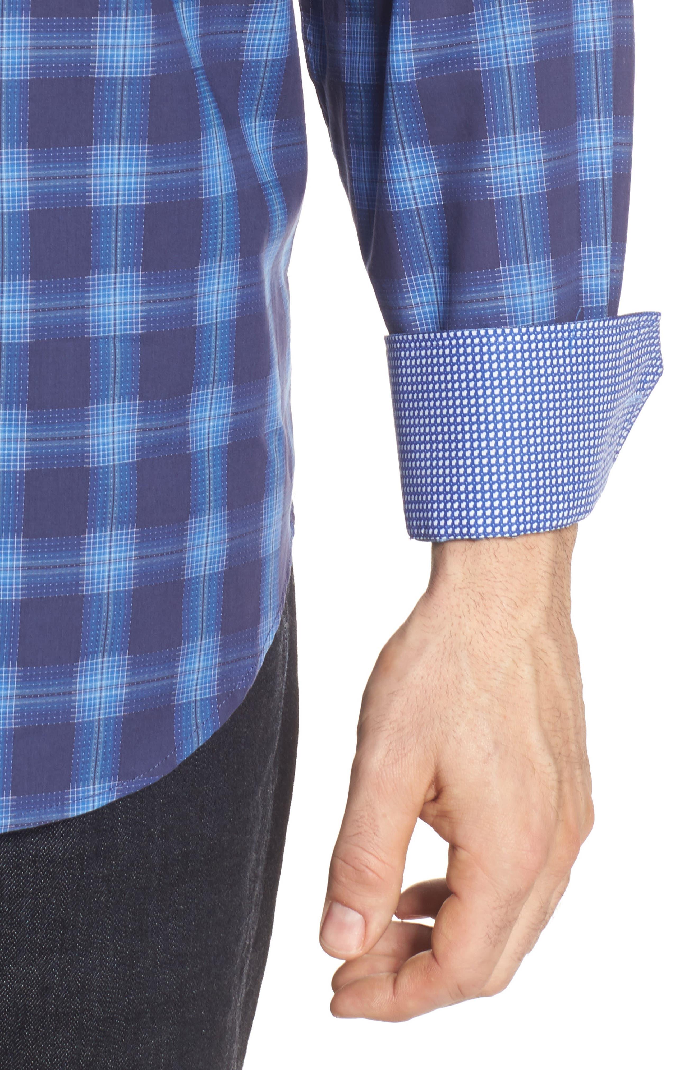 Classic Fit Plaid Sport Shirt,                             Alternate thumbnail 4, color,                             Night Blue