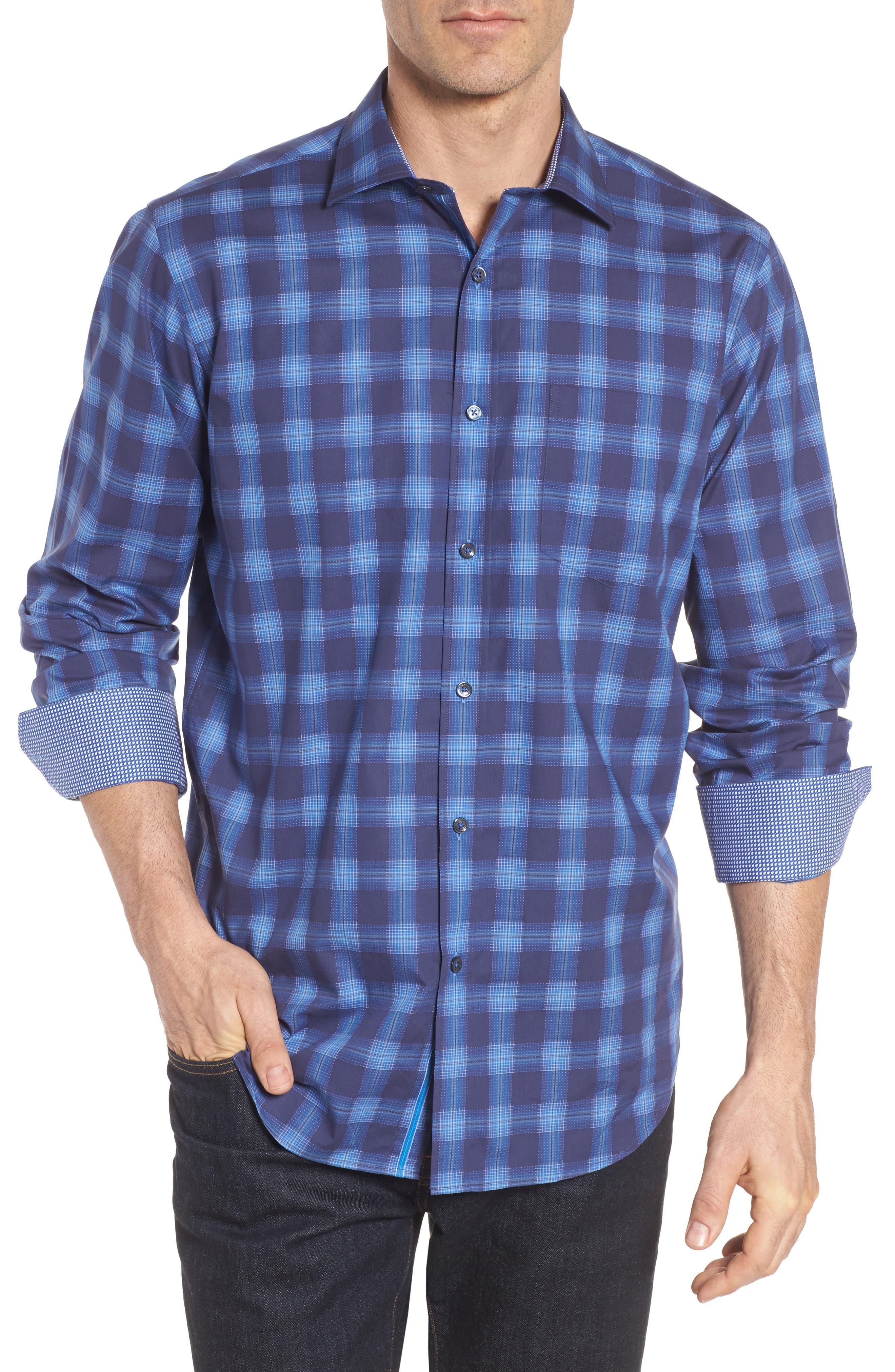 Classic Fit Plaid Sport Shirt,                         Main,                         color, Night Blue