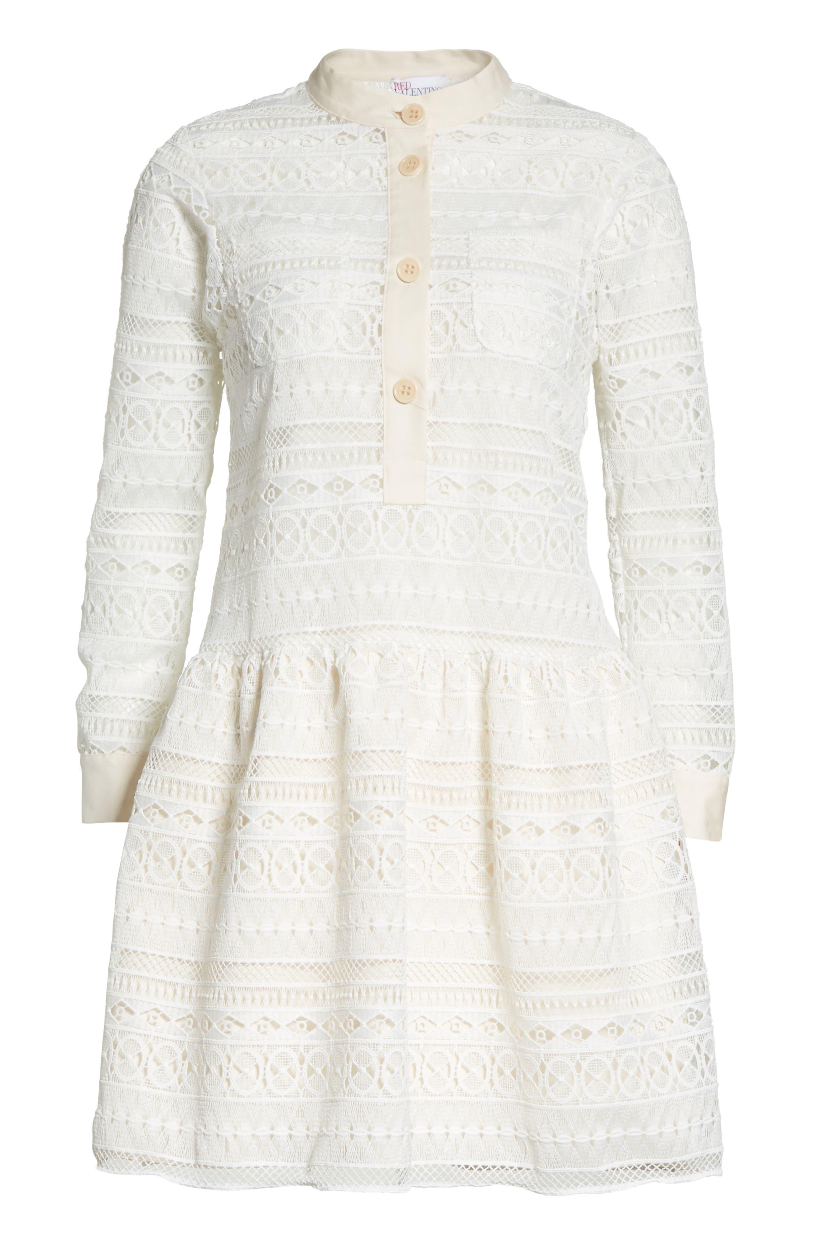 Lace Shirtdress,                             Alternate thumbnail 6, color,                             Bianco