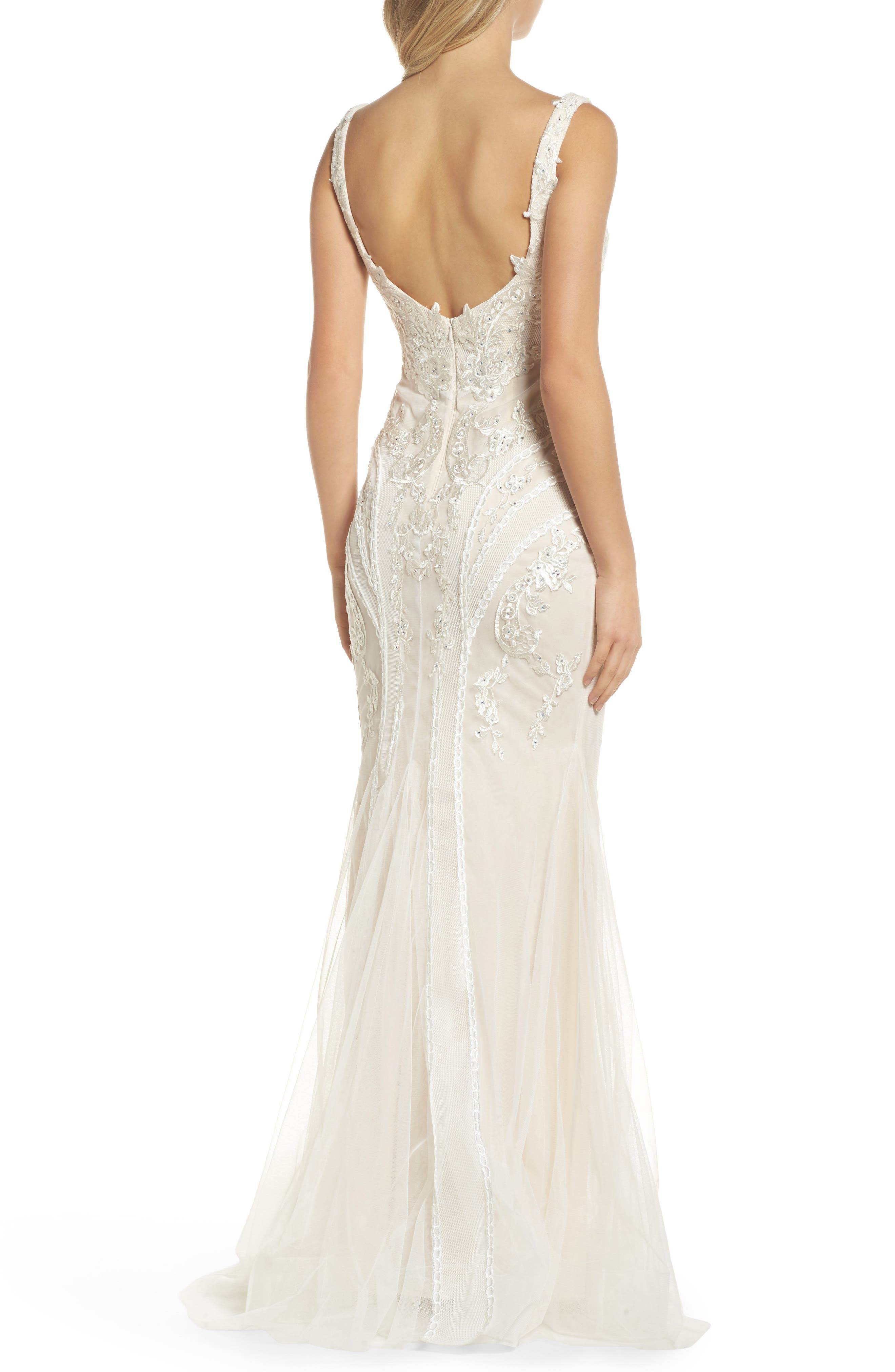 Embroidered Mermaid Gown,                             Alternate thumbnail 2, color,                             Ivory