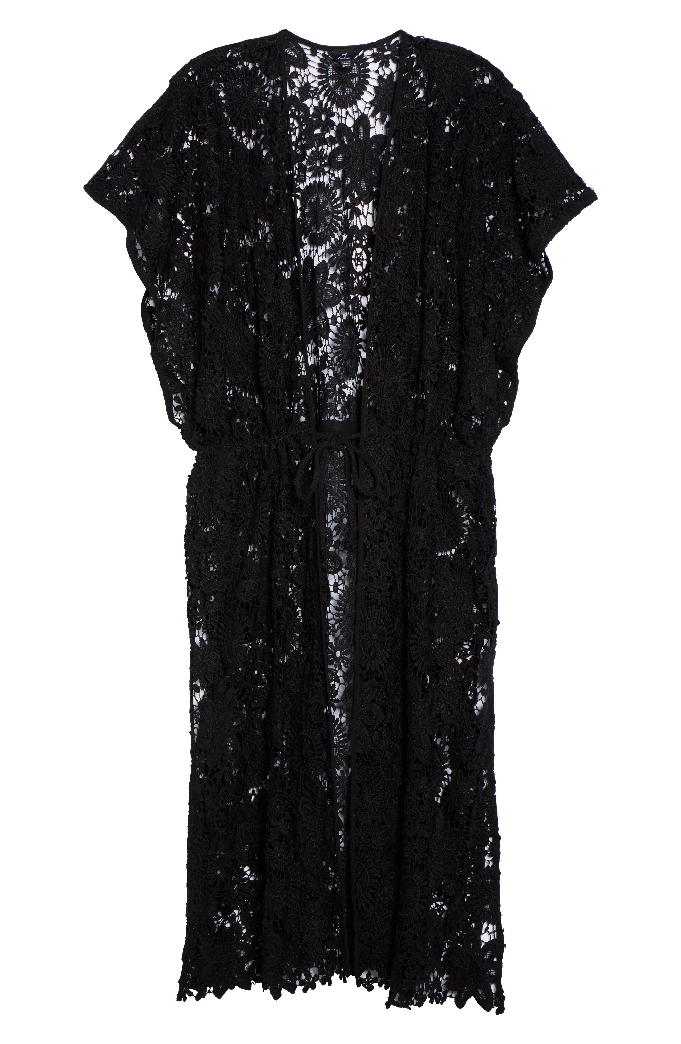 Star Coral Lace Cover-Up Tunic,                             Alternate thumbnail 6, color,                             Black