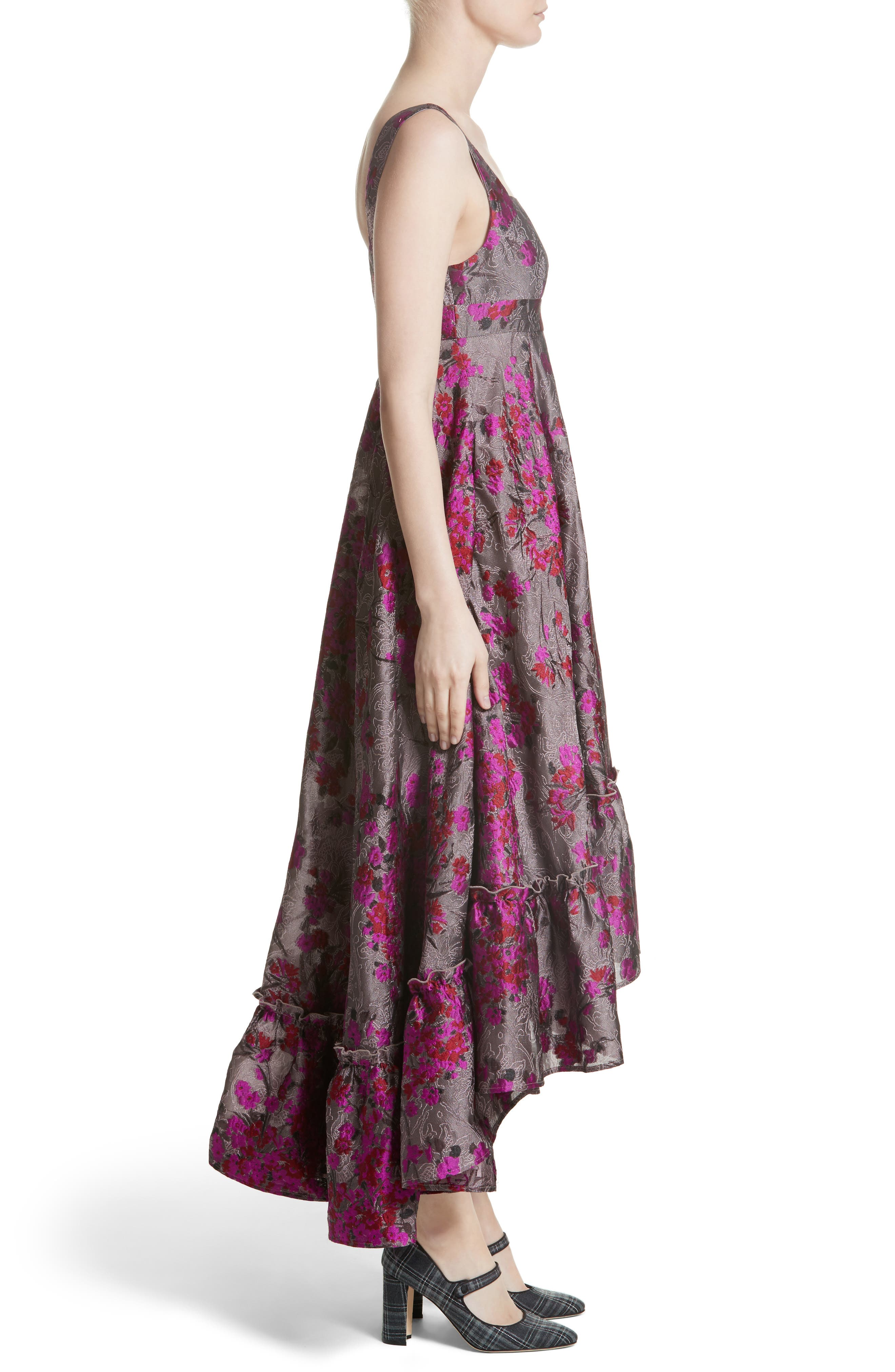 Metallic Jacquard Midi Dress,                             Alternate thumbnail 4, color,                             Magenta