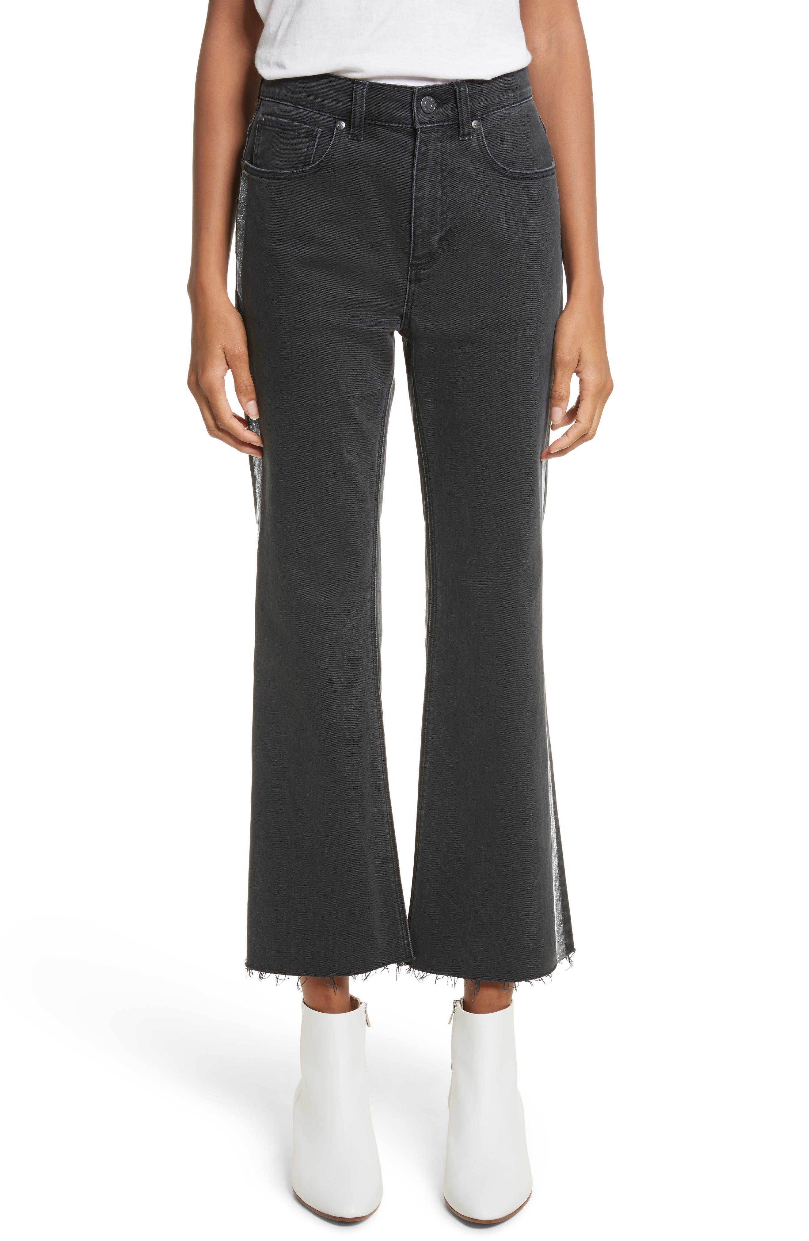 Main Image - La Vie Rebecca Taylor Glitter Stripe Jeans (Charcoal)