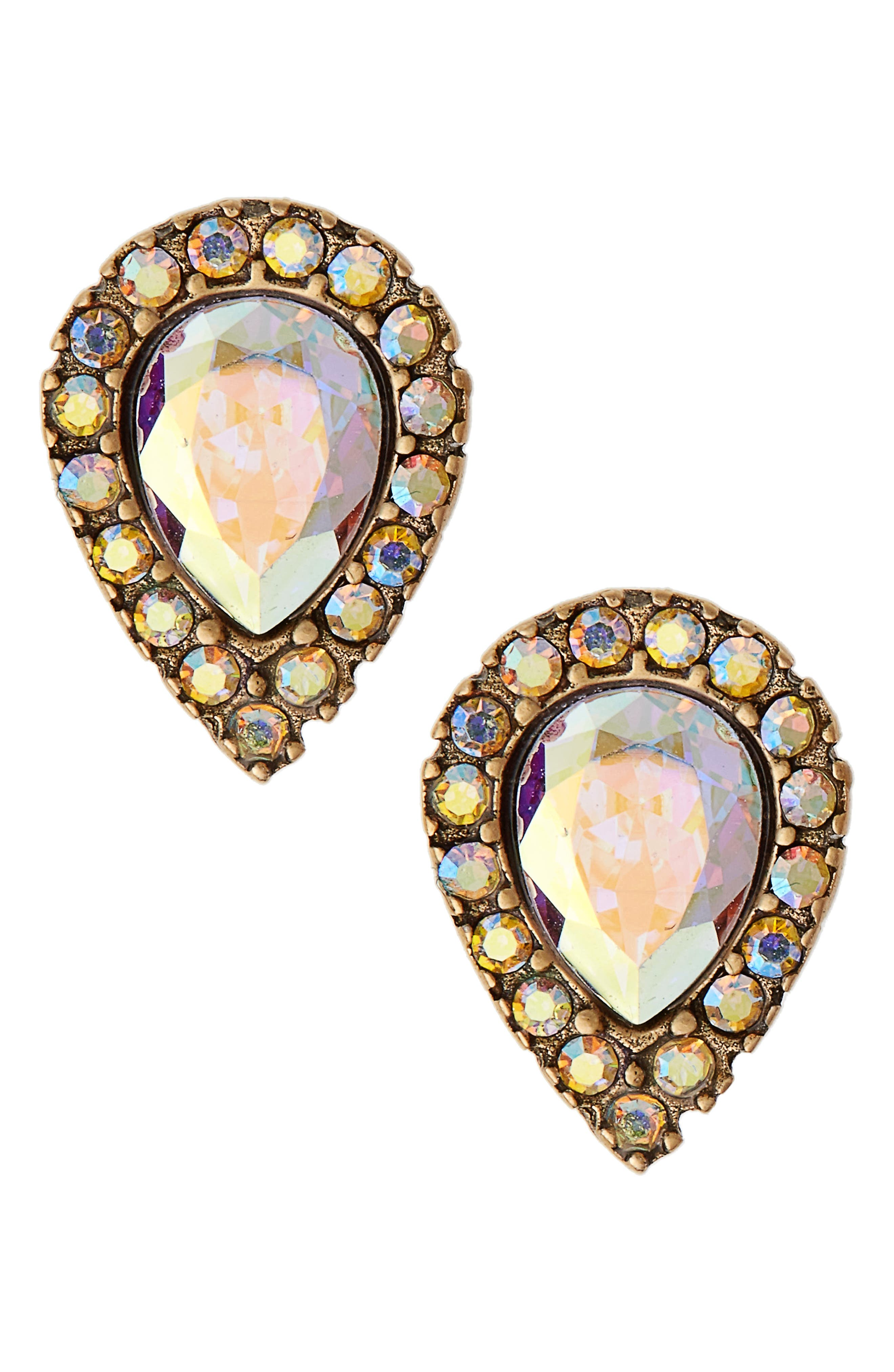 Jamie Teardrop Stud Earrings,                         Main,                         color, Gold/ Iridescent