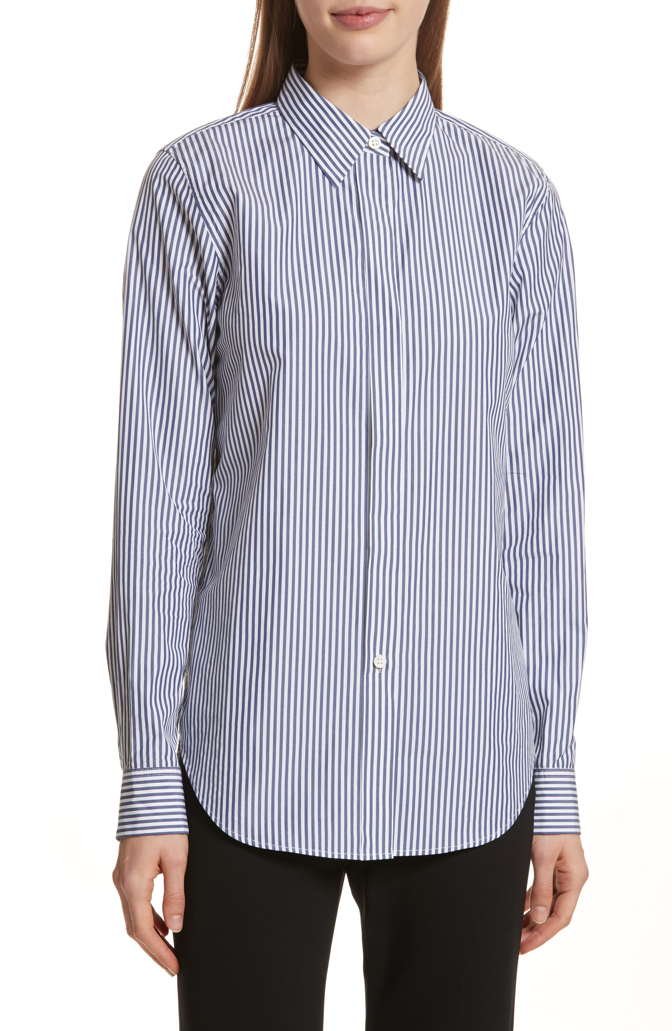 Essential Button Down Cotton Shirt,                             Main thumbnail 1, color,                             Blue/ White
