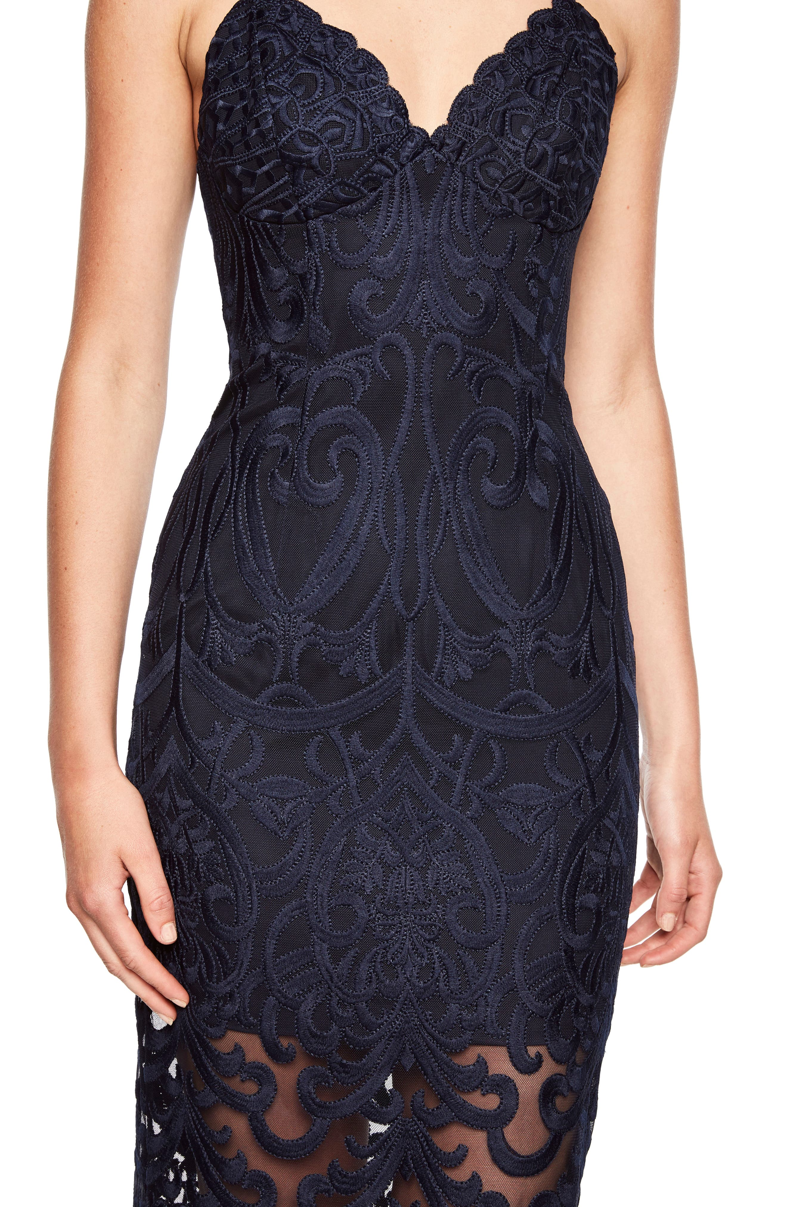 Gia Lace Pencil Dress,                             Alternate thumbnail 4, color,                             Navy