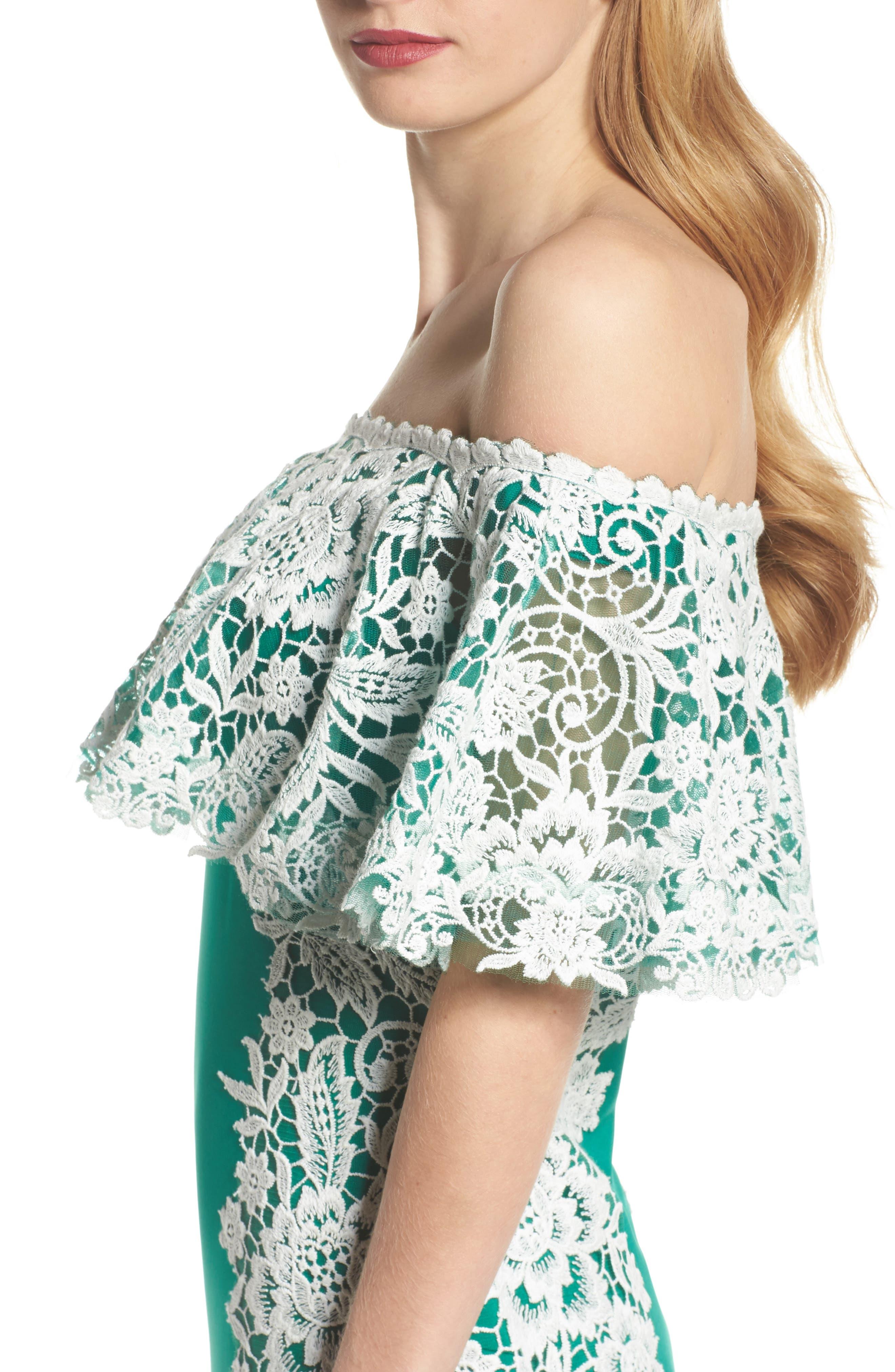 Alternate Image 4  - Tadashi Shoji Off the Shoulder Crochet & Neoprene Dress