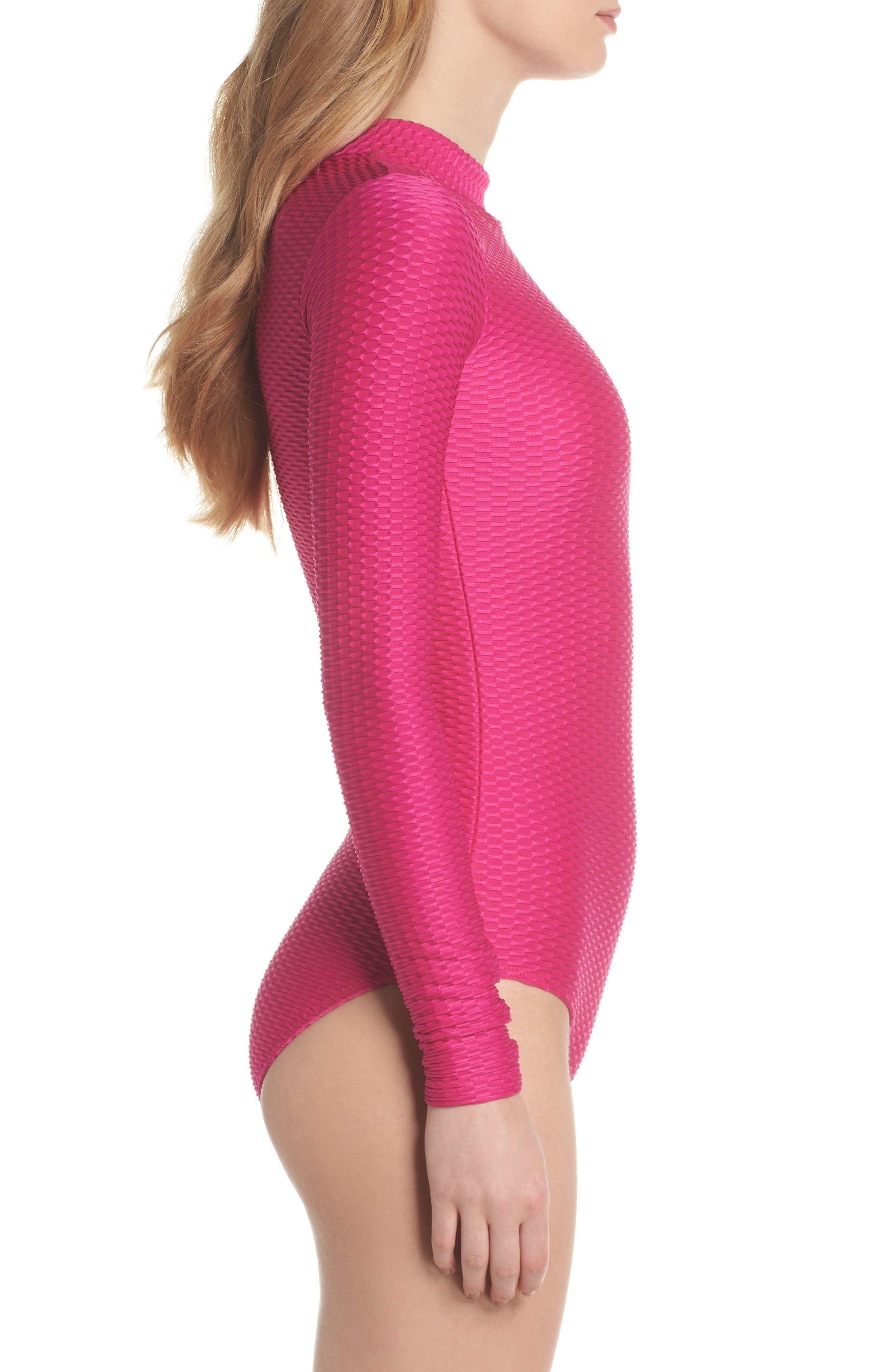 Long Sleeve One-Piece Swimsuit,                             Alternate thumbnail 3, color,                             Fuchsia