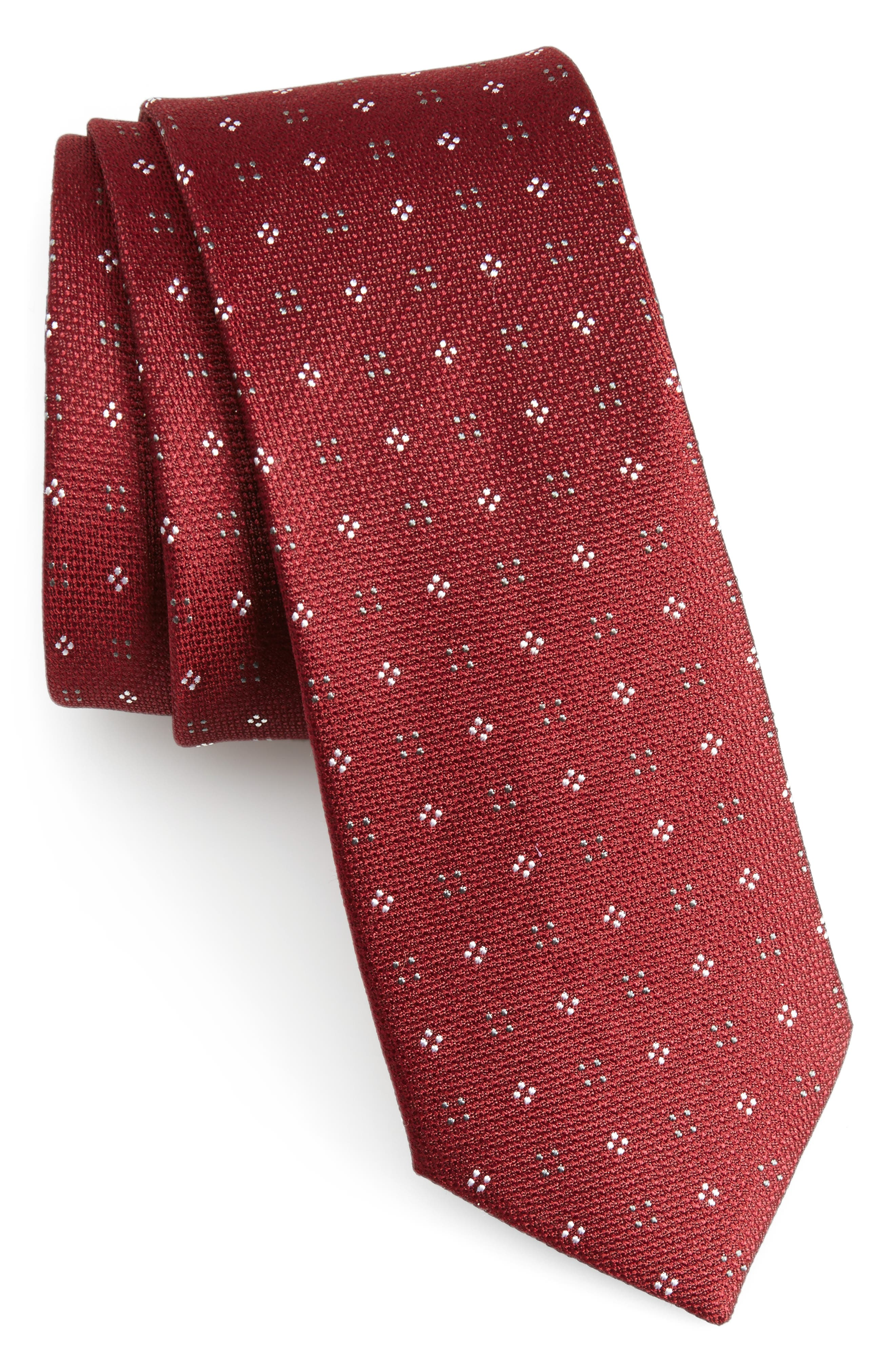 Bond Geos Silk Skinny Tie,                             Main thumbnail 1, color,                             Burgundy