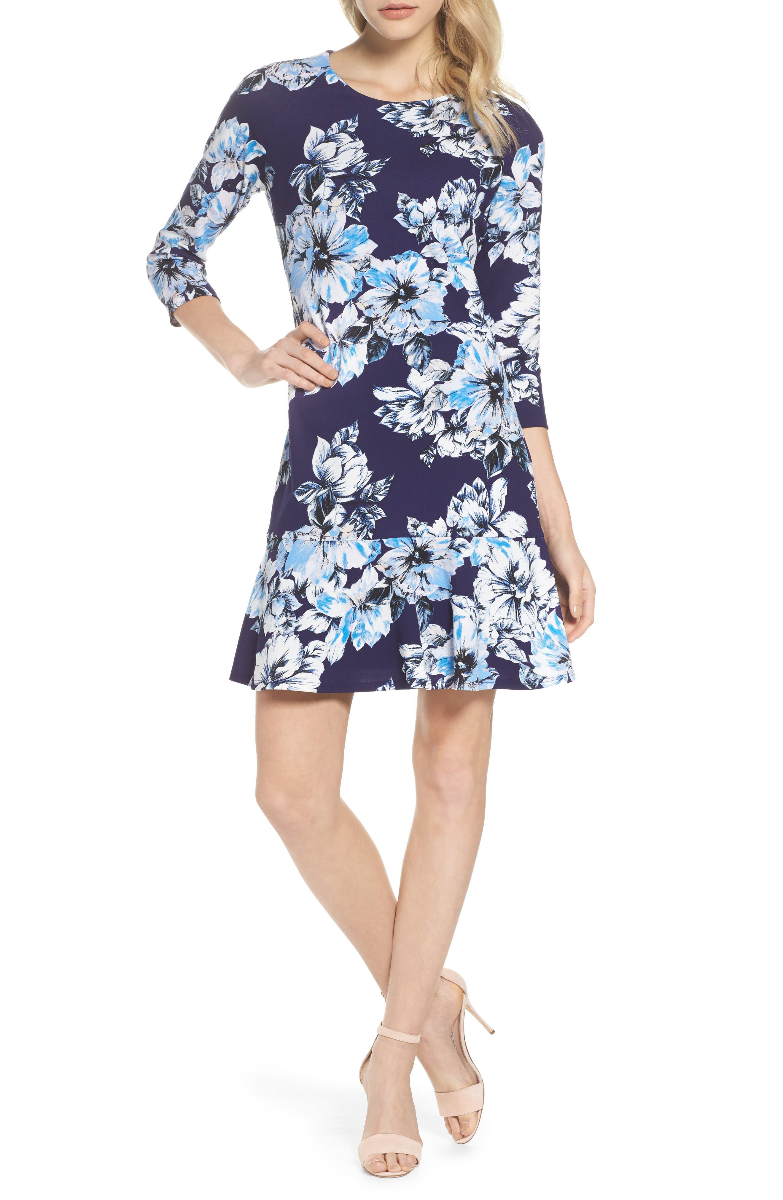 Drop Waist Dress,                             Main thumbnail 1, color,                             Navy