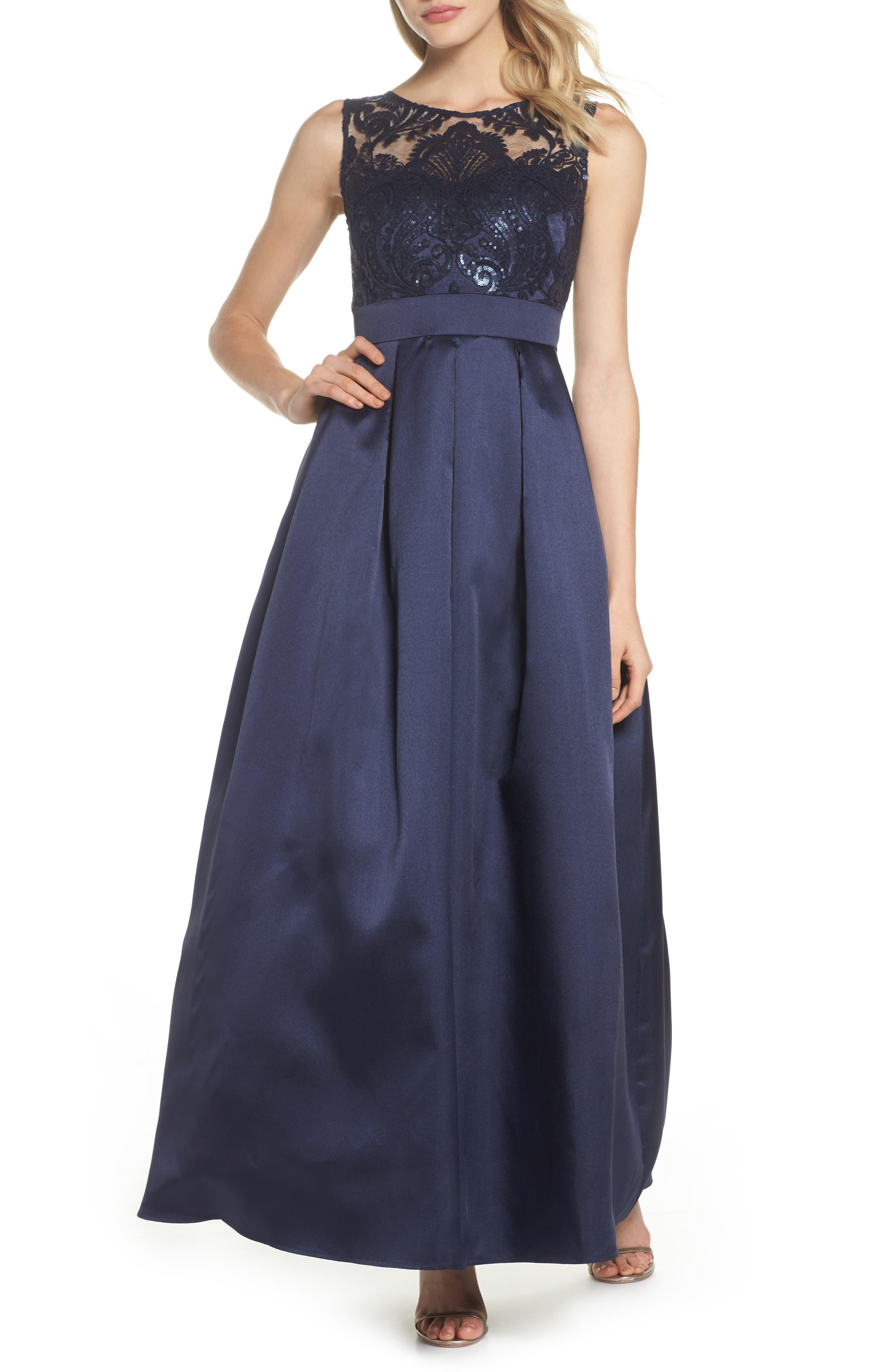 Eliza J Sequin Embellished Illusion Neck Gown