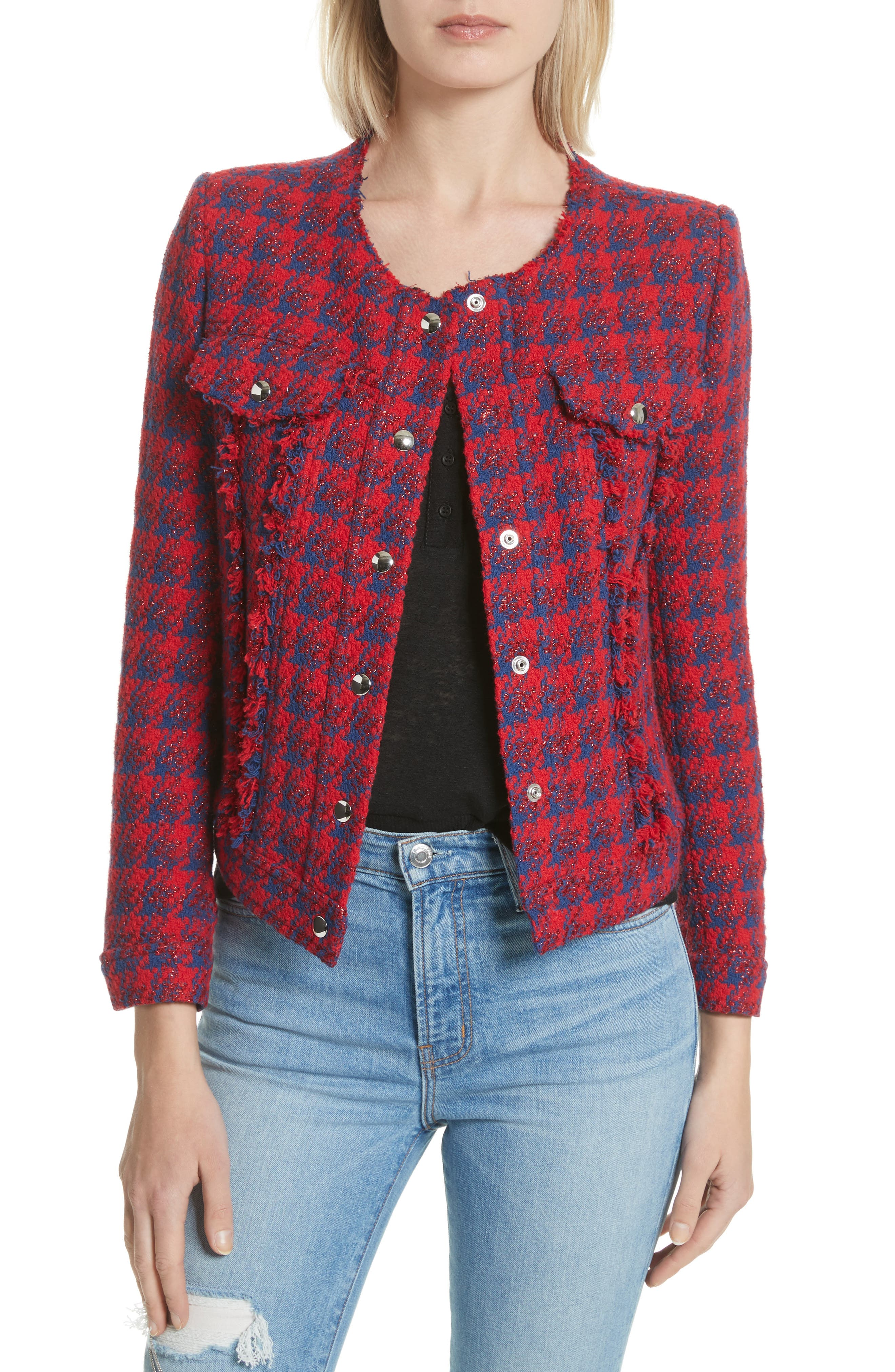 Quilombre Houndstooth Tweed Jacket,                             Main thumbnail 1, color,                             Red/ Blue