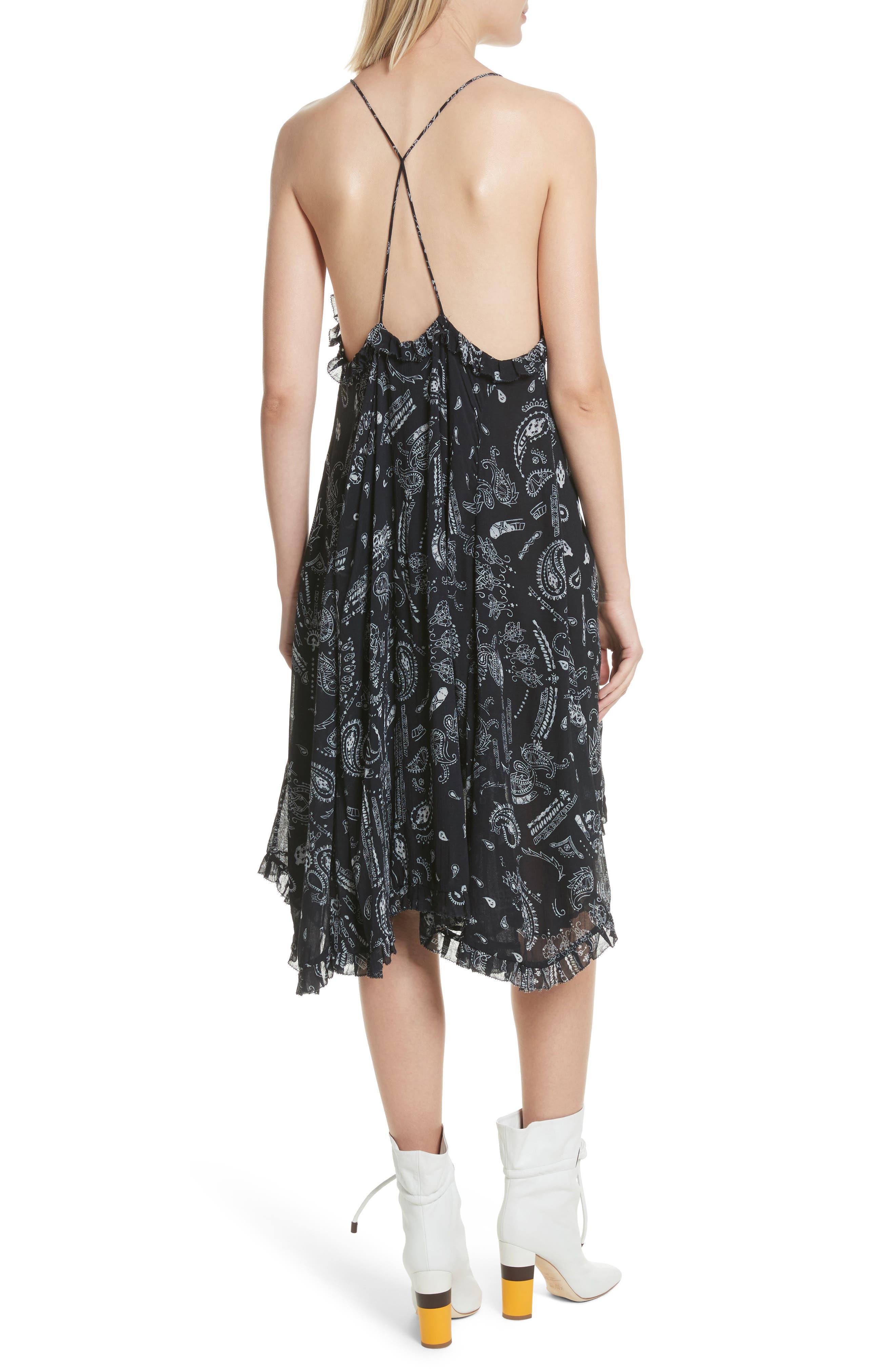 Bagda Bandana Print Ruffle Trim Dress,                             Alternate thumbnail 2, color,                             Black