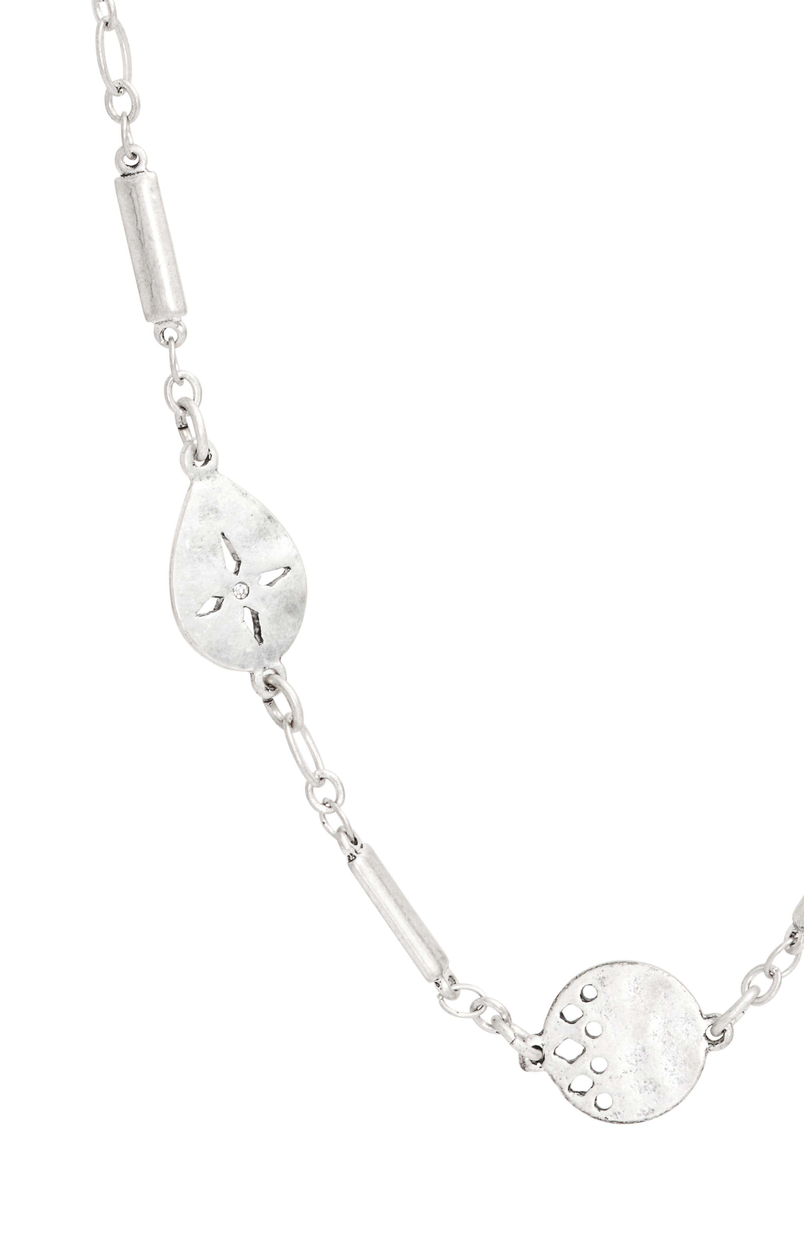 Disc Station Necklace,                             Alternate thumbnail 2, color,                             Clear- Rhodium