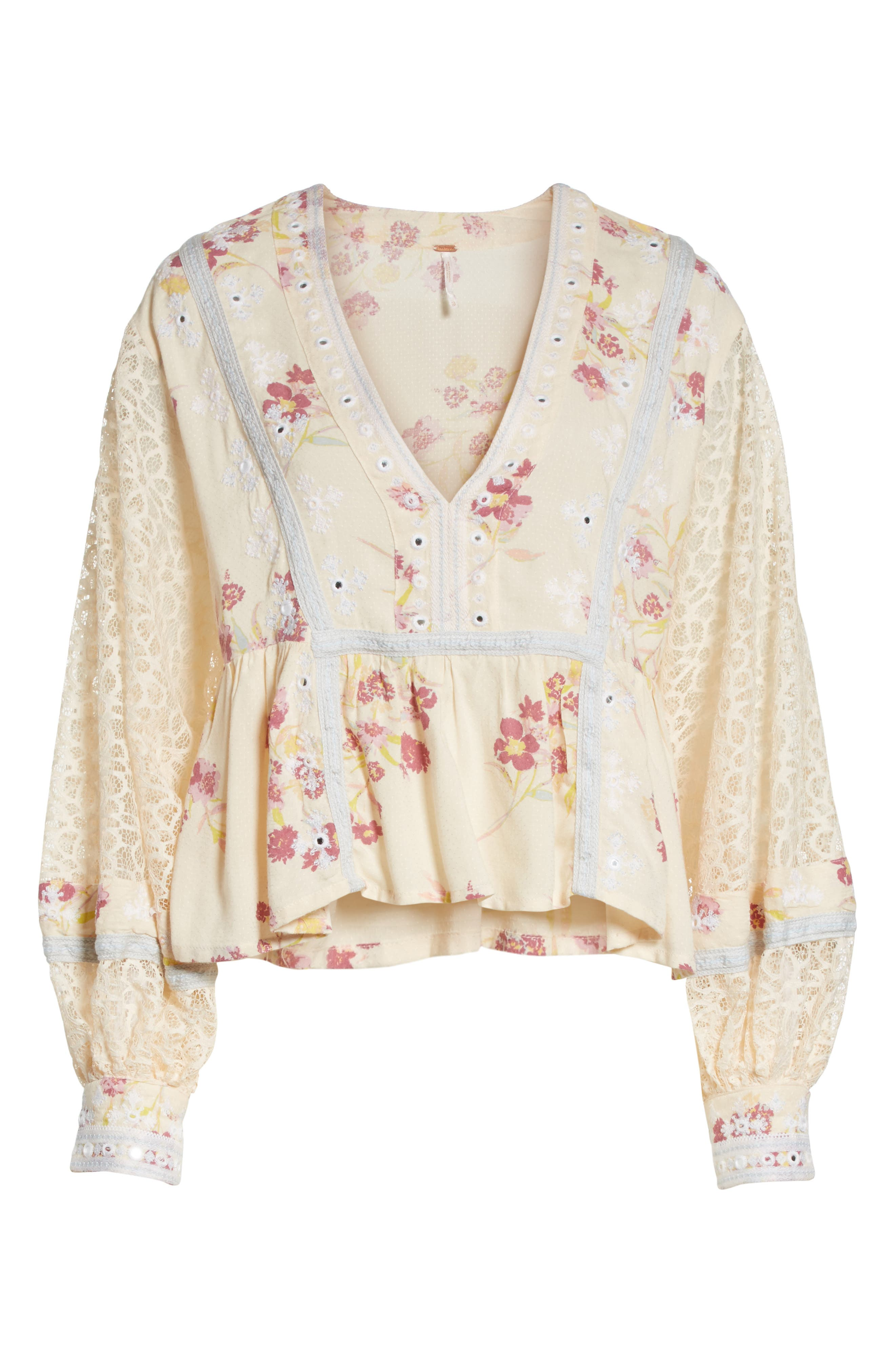 Main Image - Free People Boogie All Night Lace Sleeve Blouse