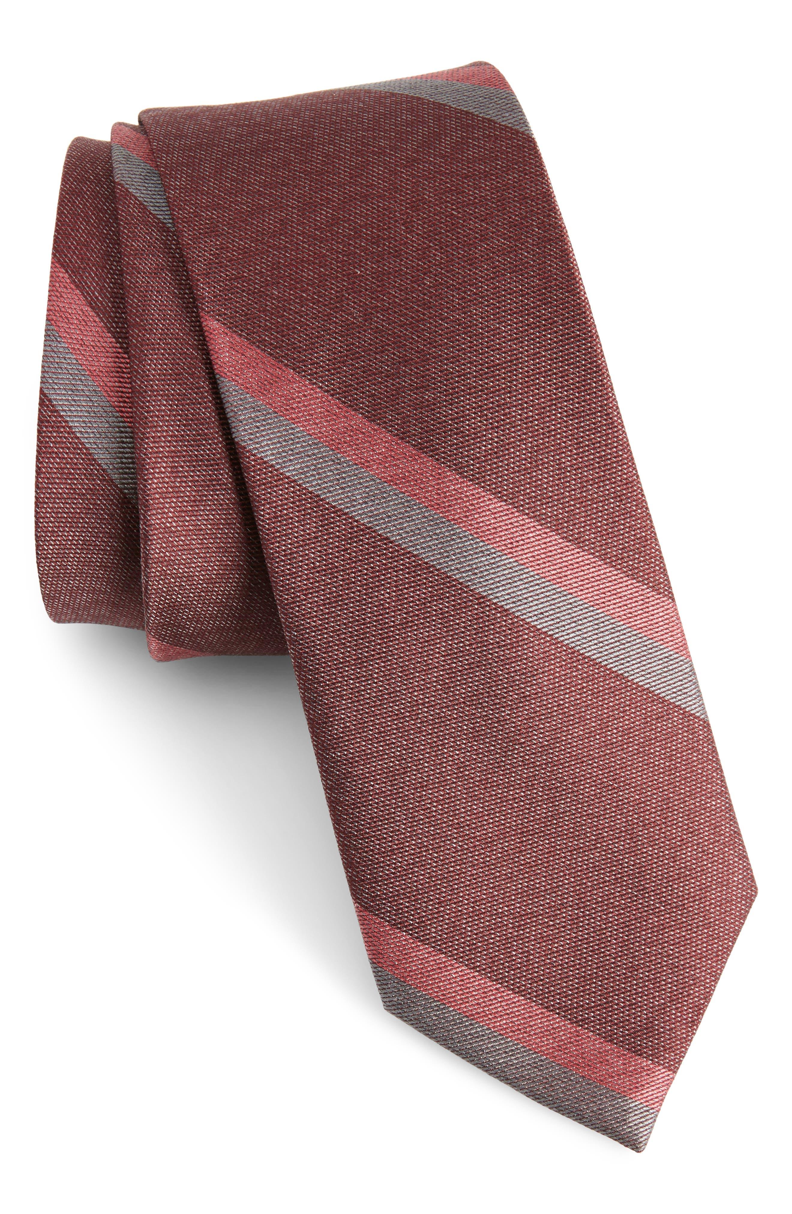 Stripe Silk Skinny Tie,                             Main thumbnail 1, color,                             Burgundy