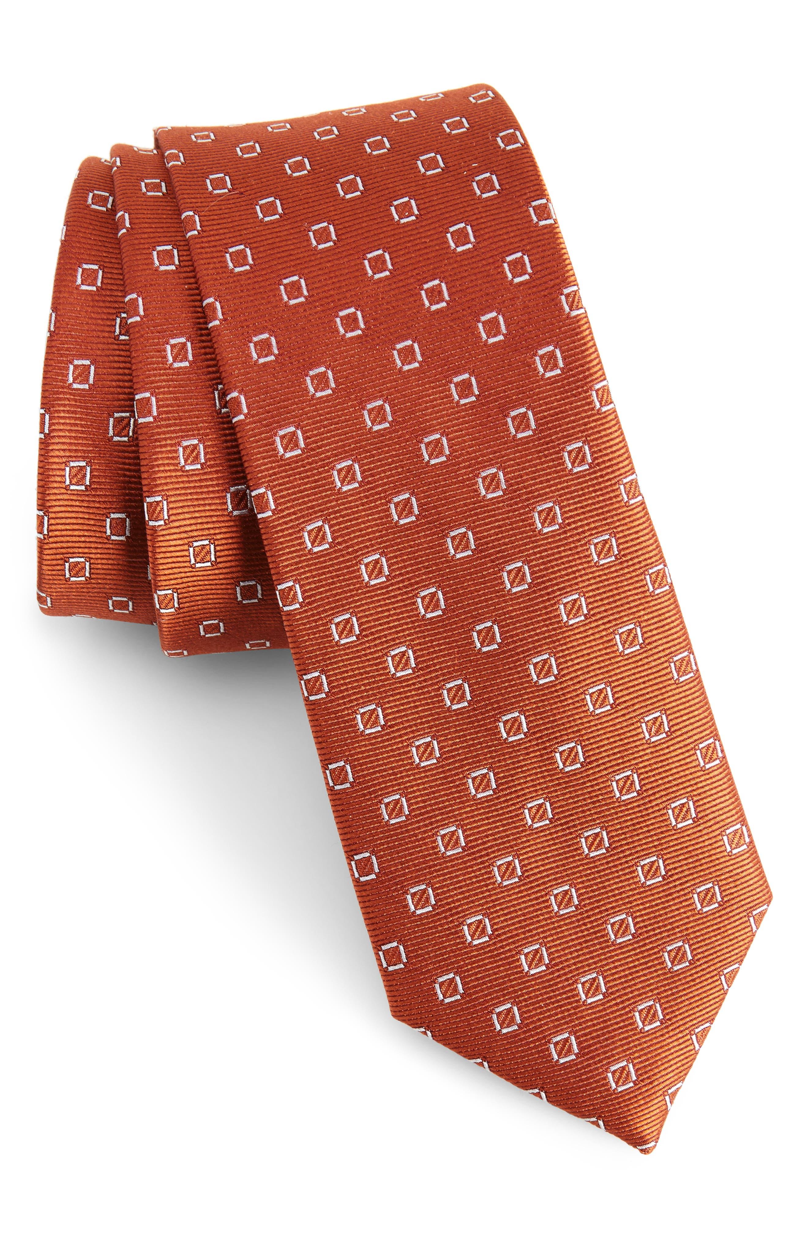 Junction Geo Silk Skinny Tie,                             Main thumbnail 1, color,                             Burnt Orange
