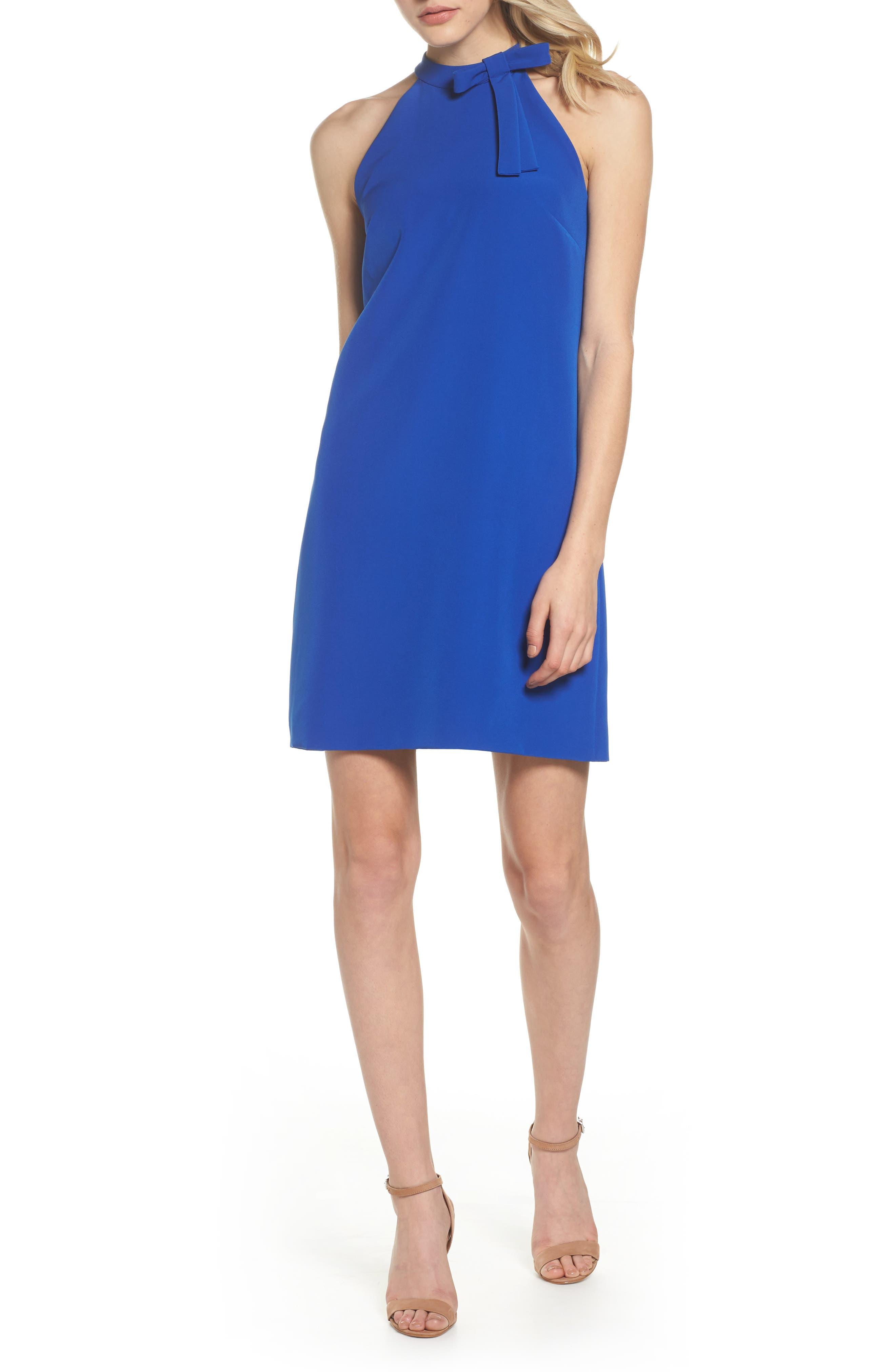 Scuba Shift Dress,                         Main,                         color, Patriot Blue