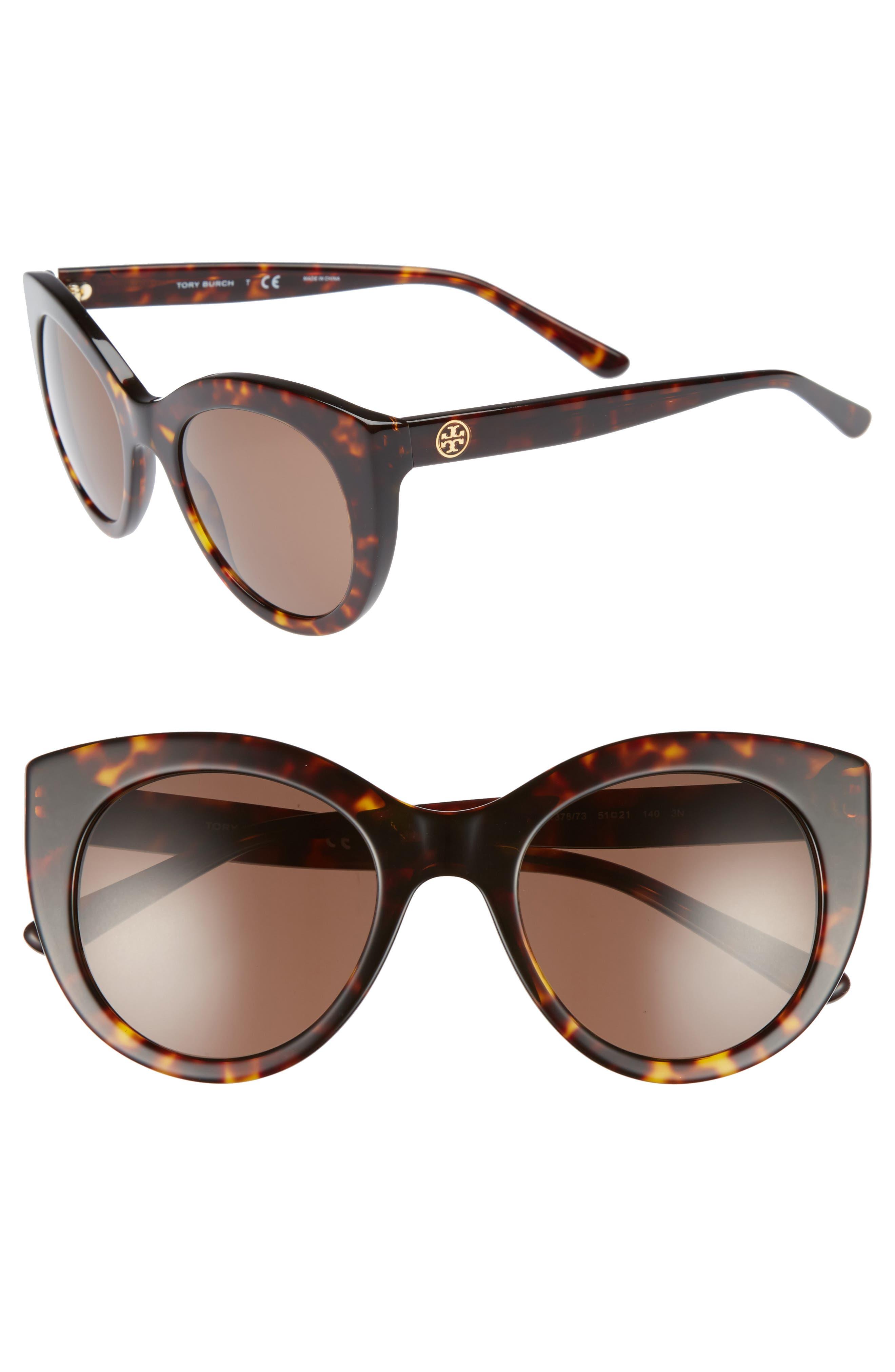 51mm Cat Eye Sunglasses,                             Main thumbnail 1, color,                             Tortoise/ Gold