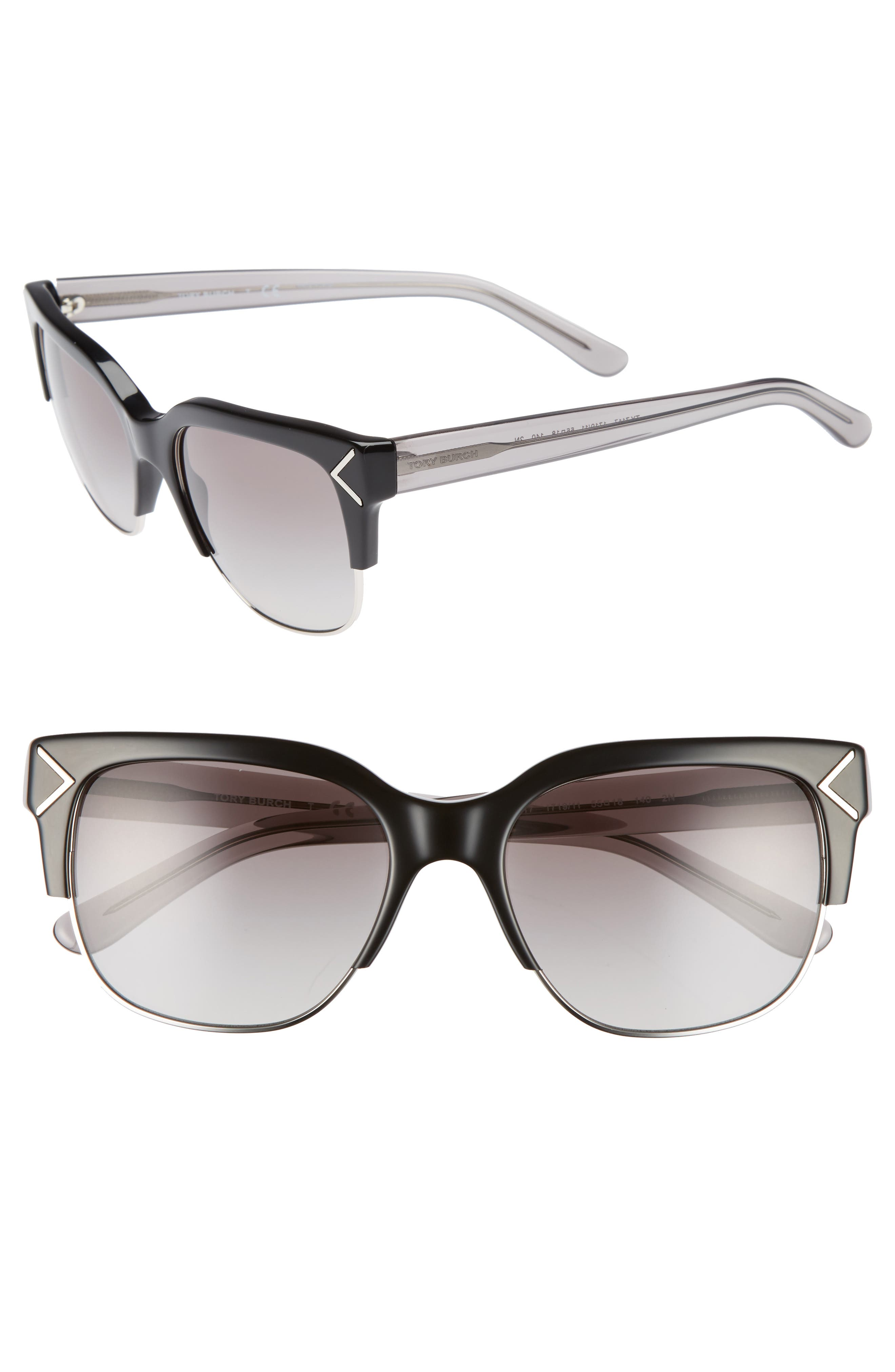 Alternate Image 1 Selected - Tory Burch 55mm Gradient Square Sunglasses