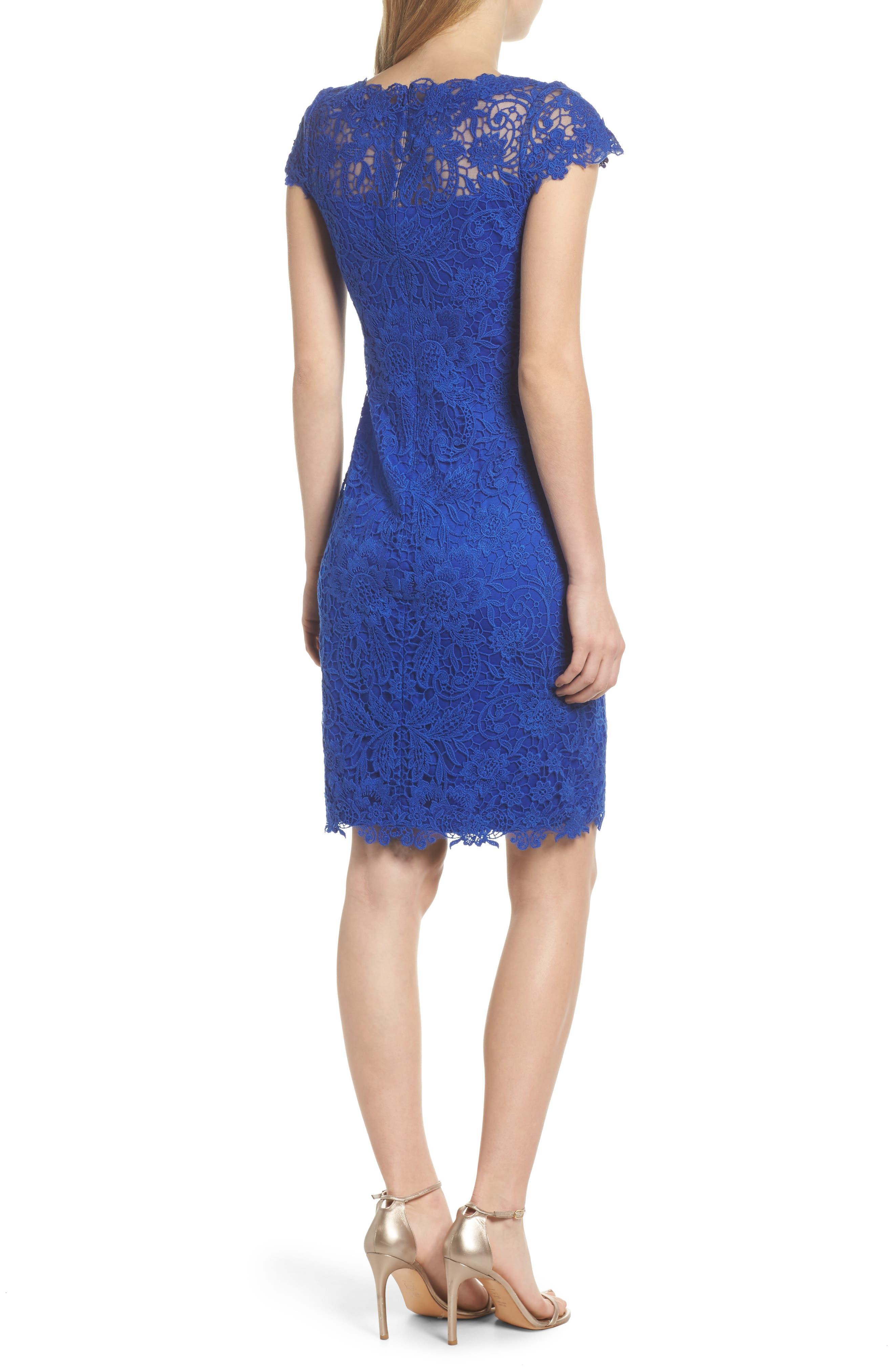 Crochet Sheath Dress,                             Alternate thumbnail 2, color,                             Horizon Blue