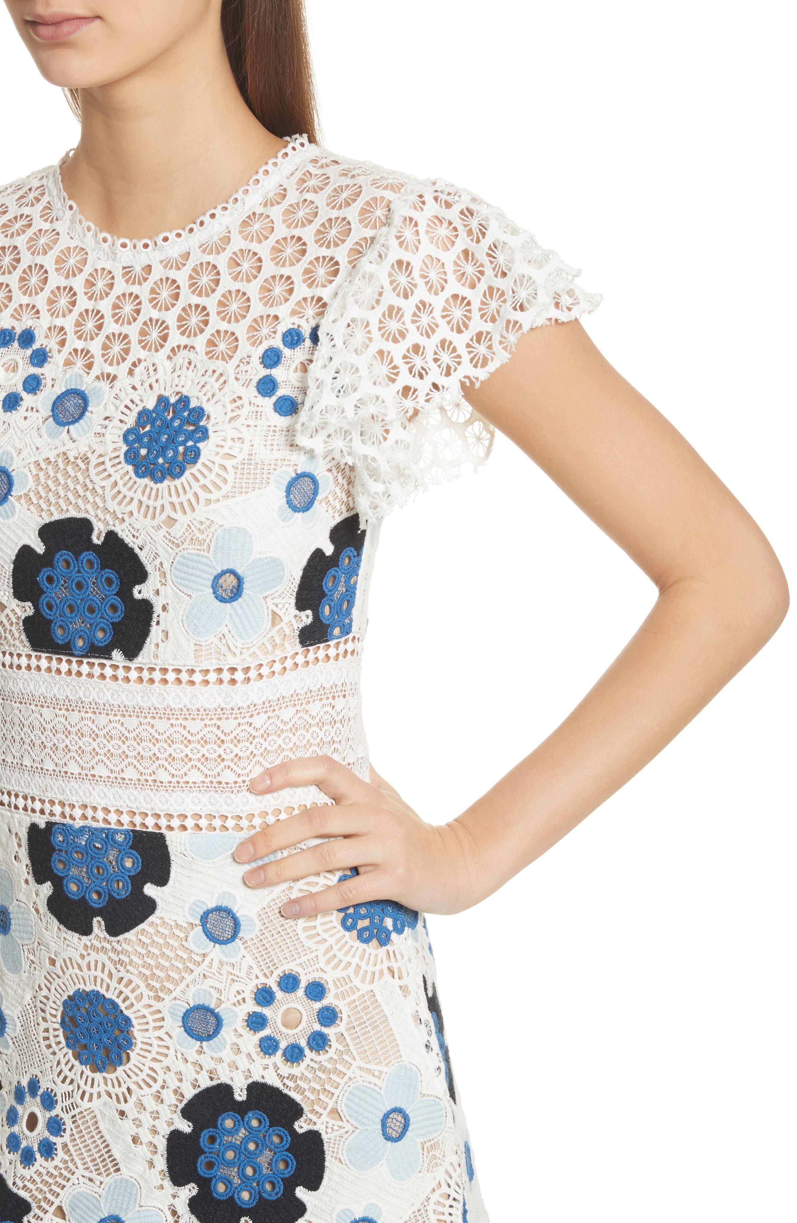 Figgy Crochet Dress,                             Alternate thumbnail 4, color,                             Cream/ Blue Multi