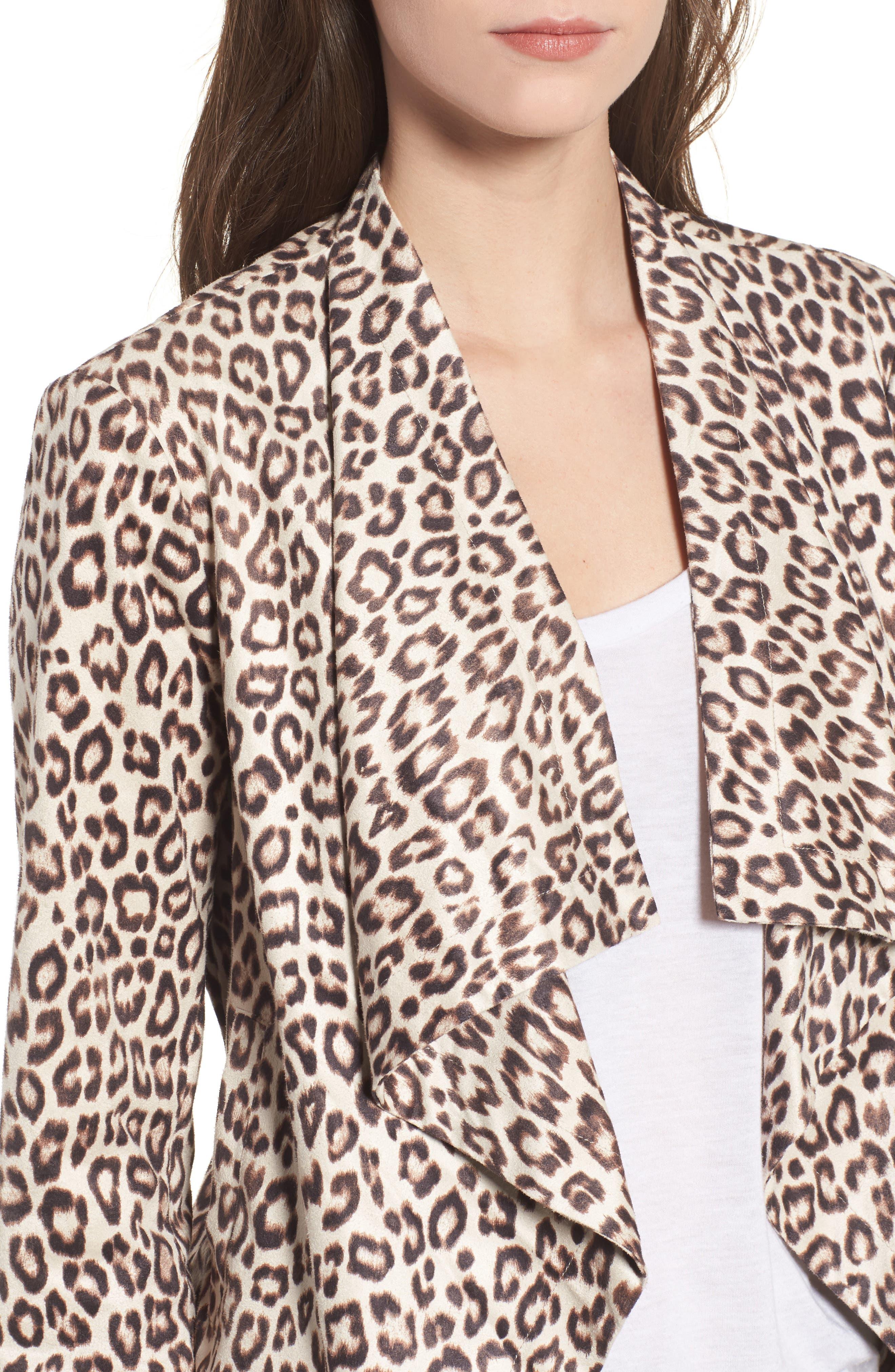 Aleah Leopard Print Faux Suede Drape Front Jacket,                             Alternate thumbnail 4, color,                             Light Tan