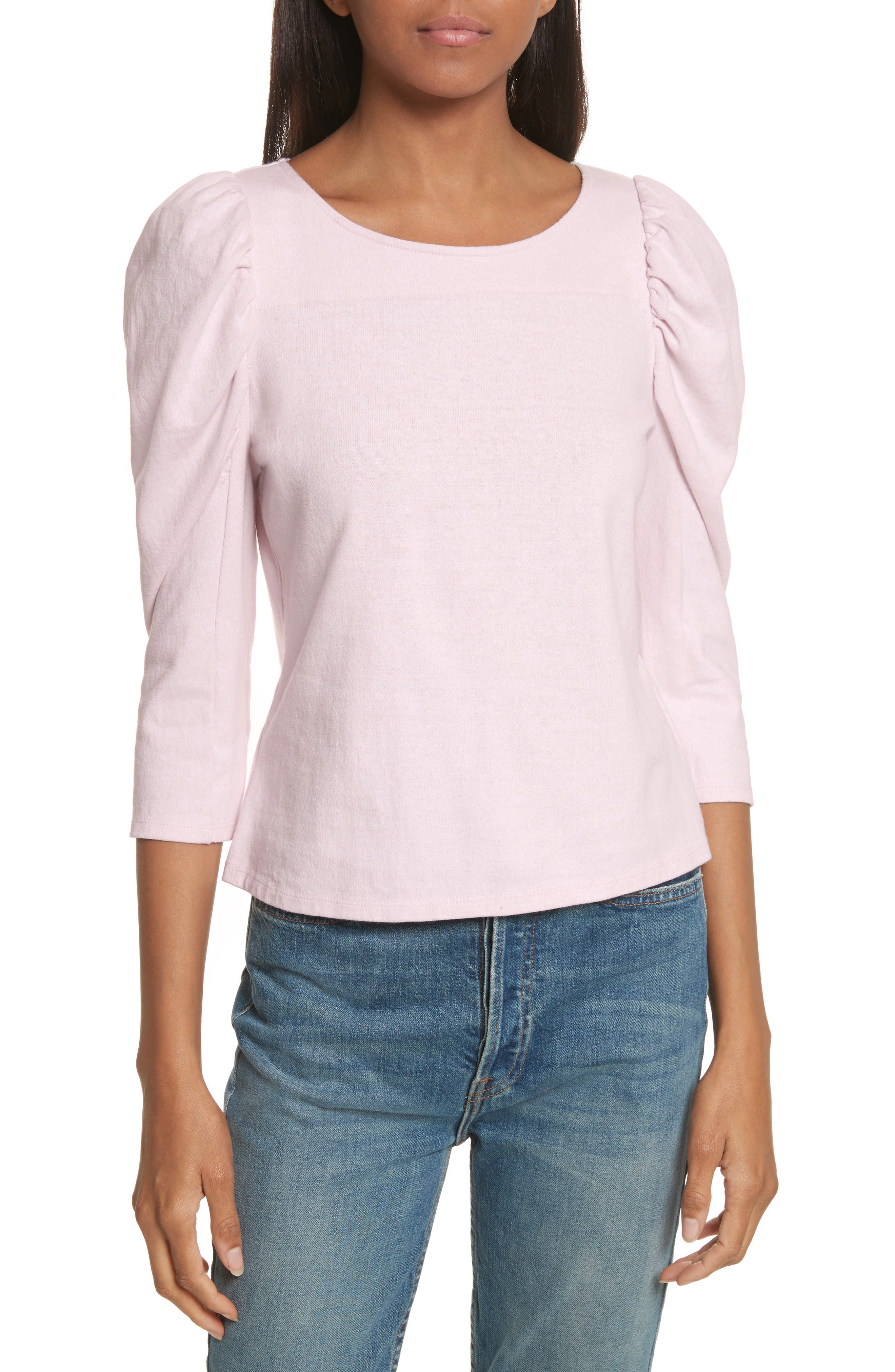 La Vie Rebecca Taylor Ruched Sleeve Jersey Top
