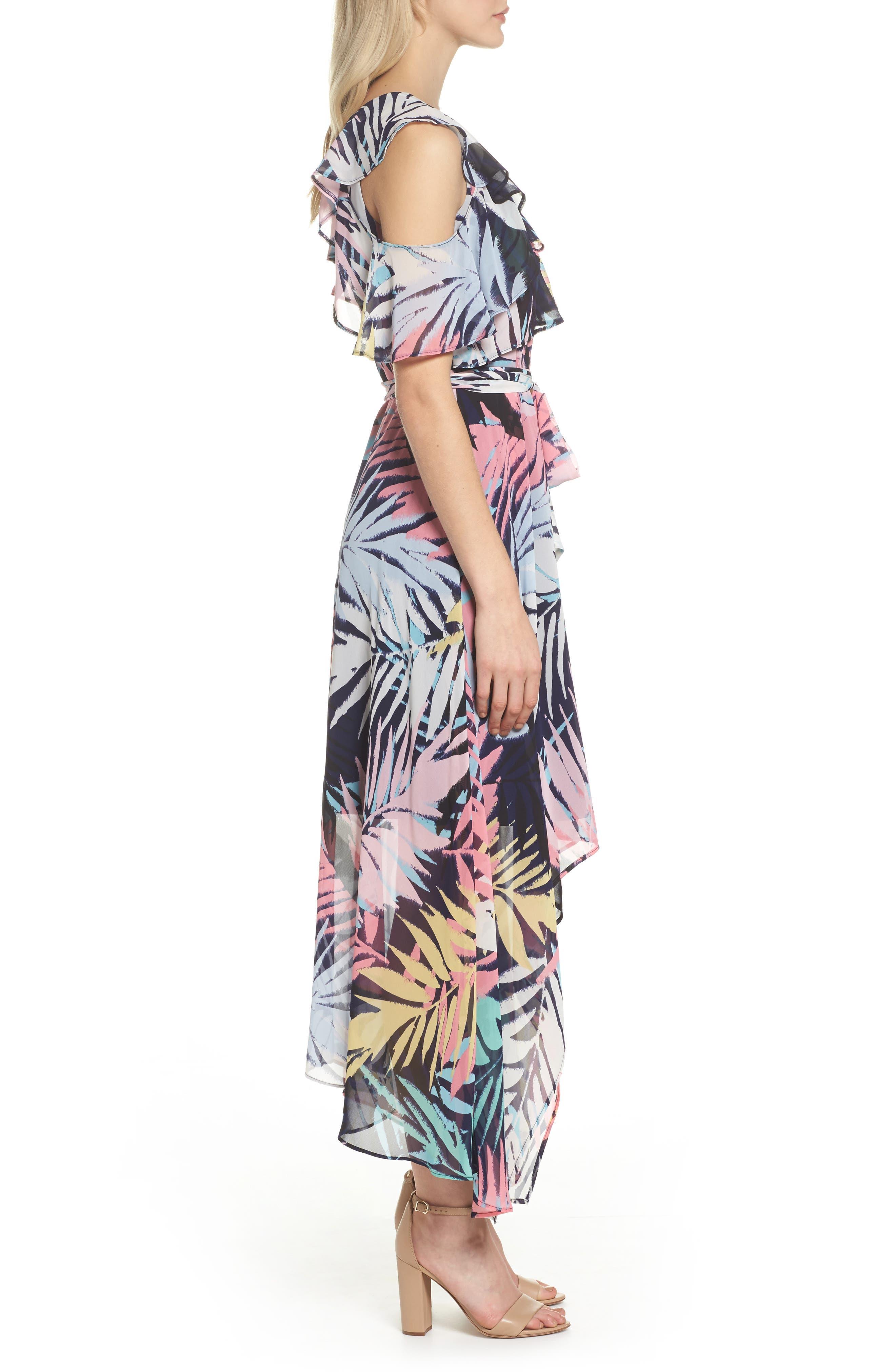 Asymmetrical Neck Maxi Dress,                             Alternate thumbnail 3, color,                             Navy Multi