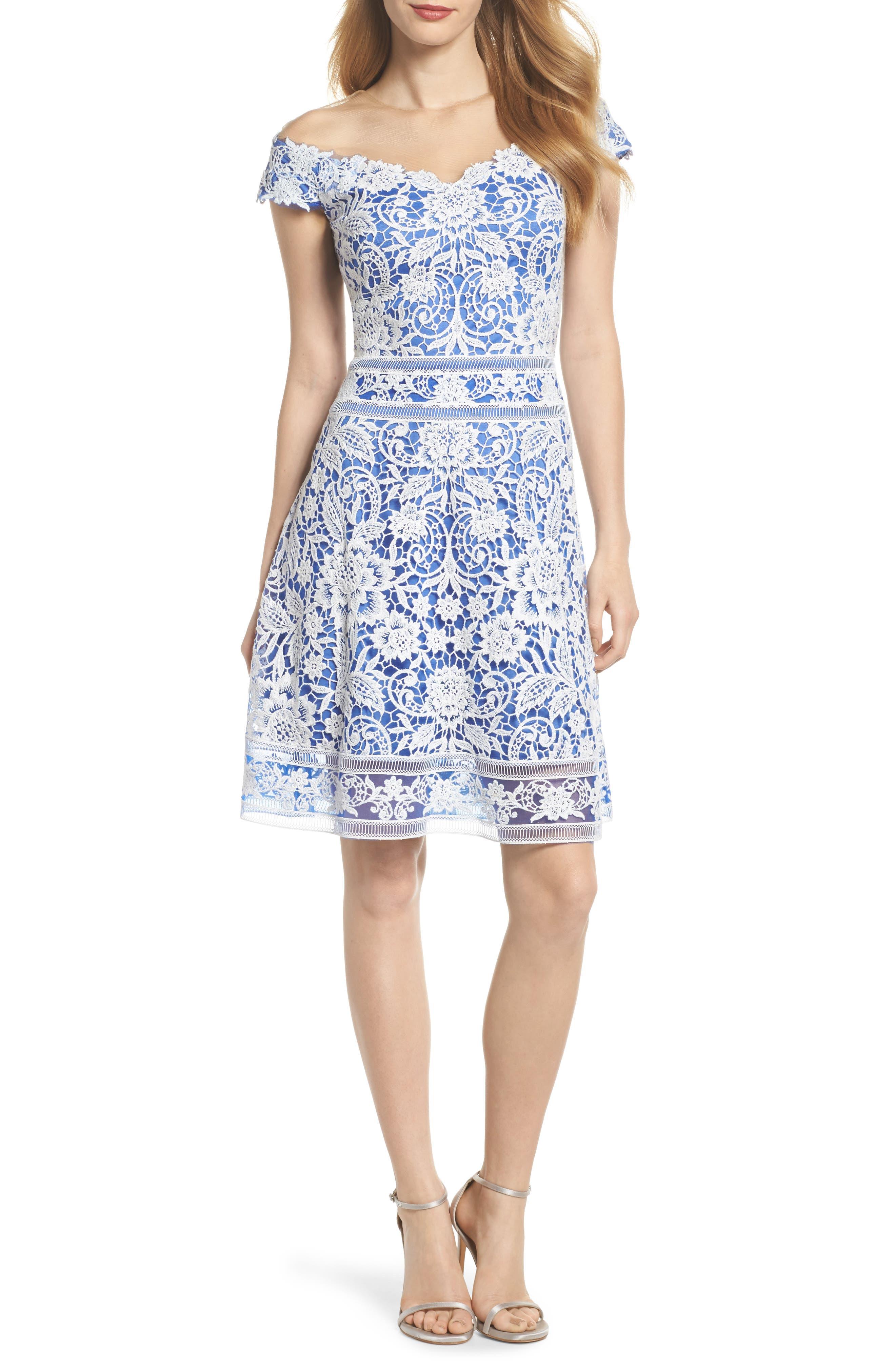 Illusion Neck Crochet Lace Dress,                         Main,                         color, Ivory/ Blue Velvet